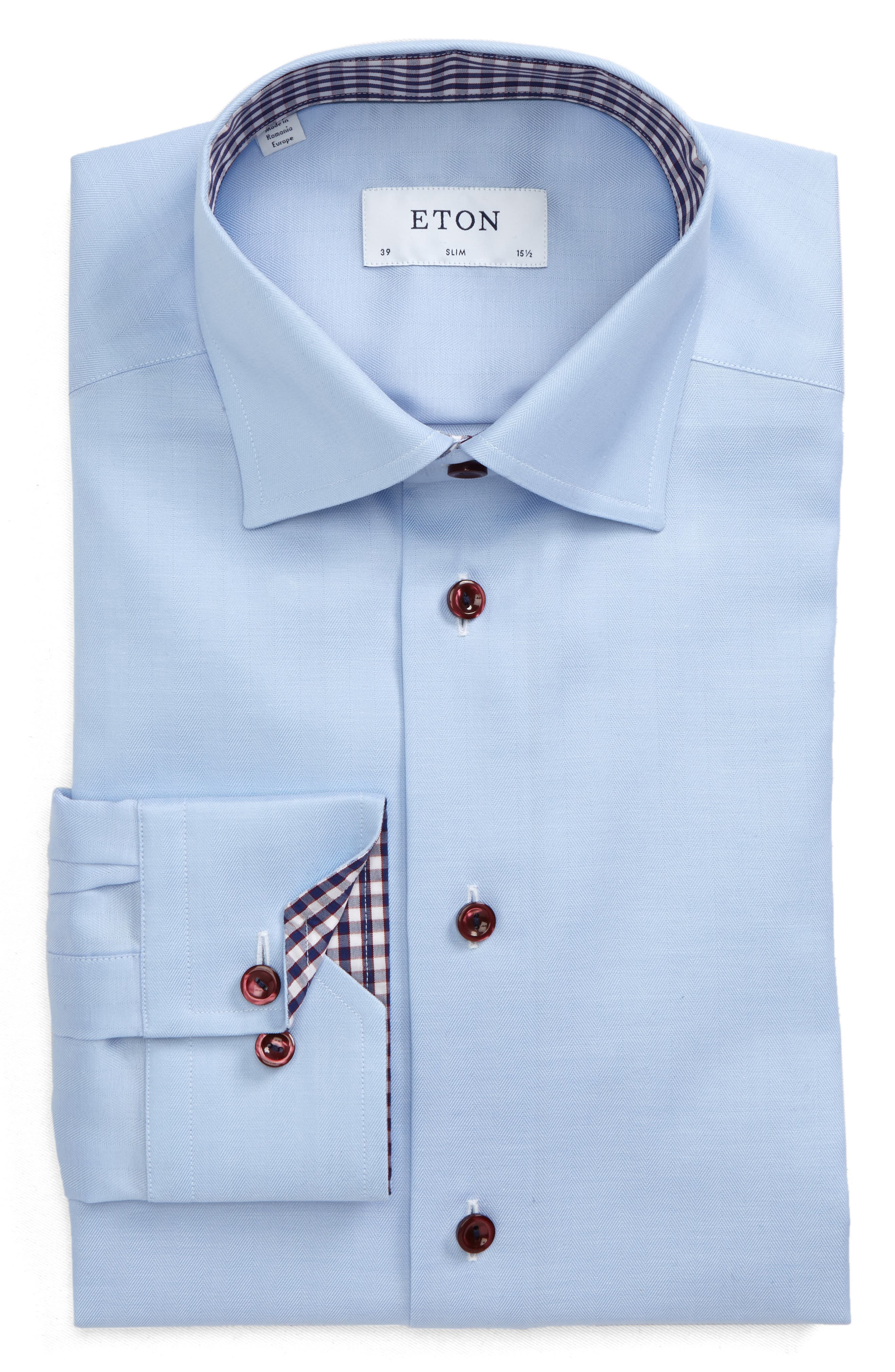 Signature Slim Fit Solid Twill Dress Shirt,                             Main thumbnail 1, color,                             Blue