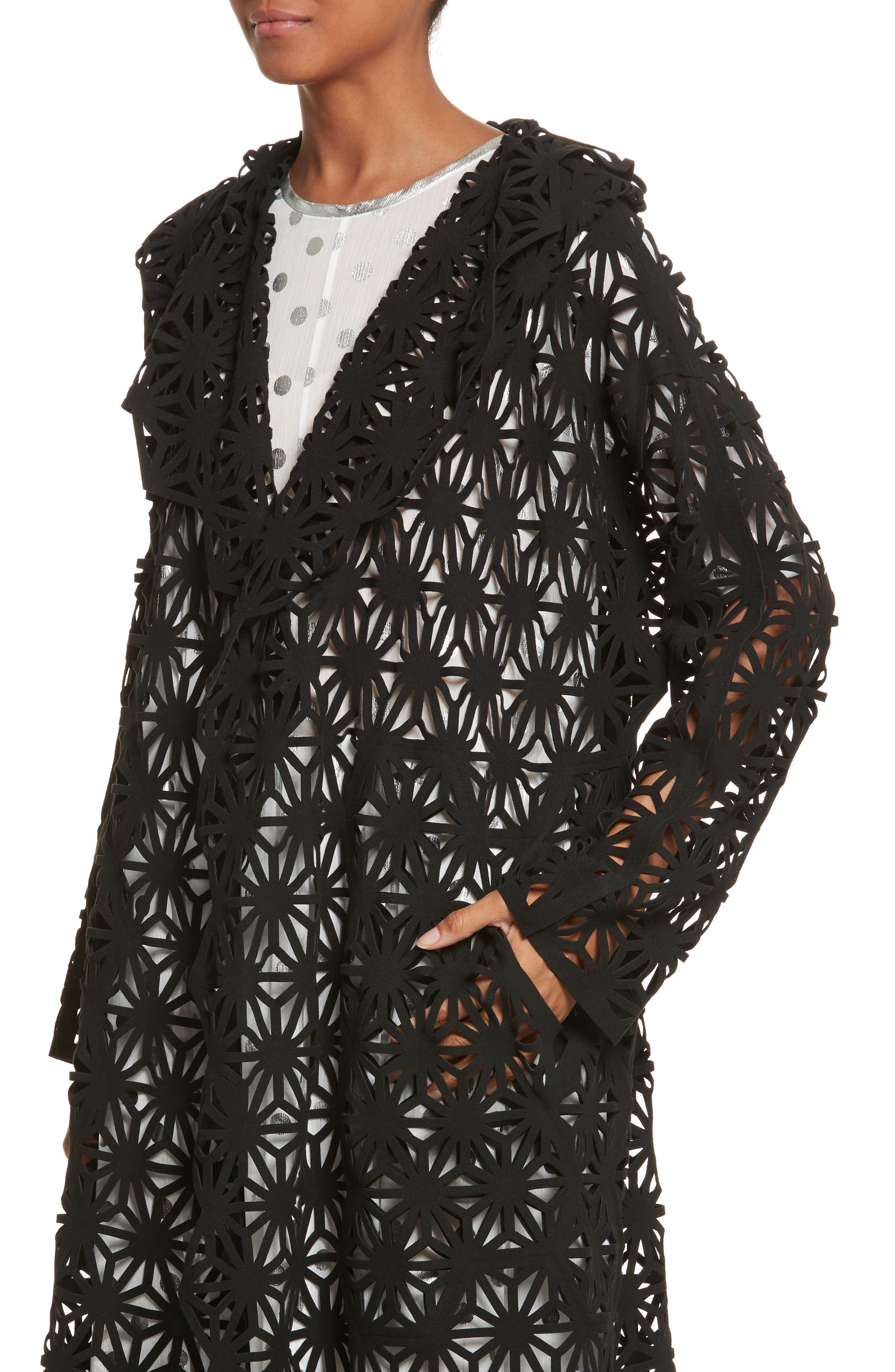 Laser Cut Hooded Coat,                             Alternate thumbnail 5, color,                             Black