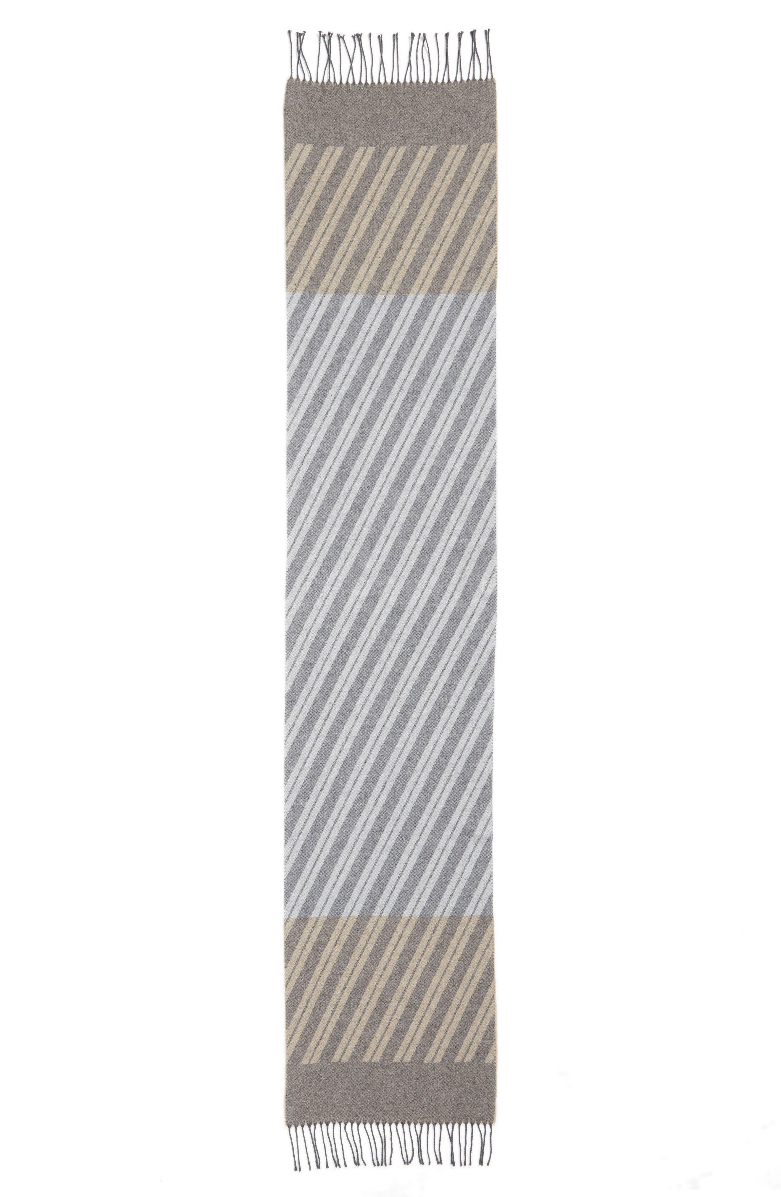 Colorblock Stripe Cotton Scarf,                             Alternate thumbnail 3, color,                             Maple Oat