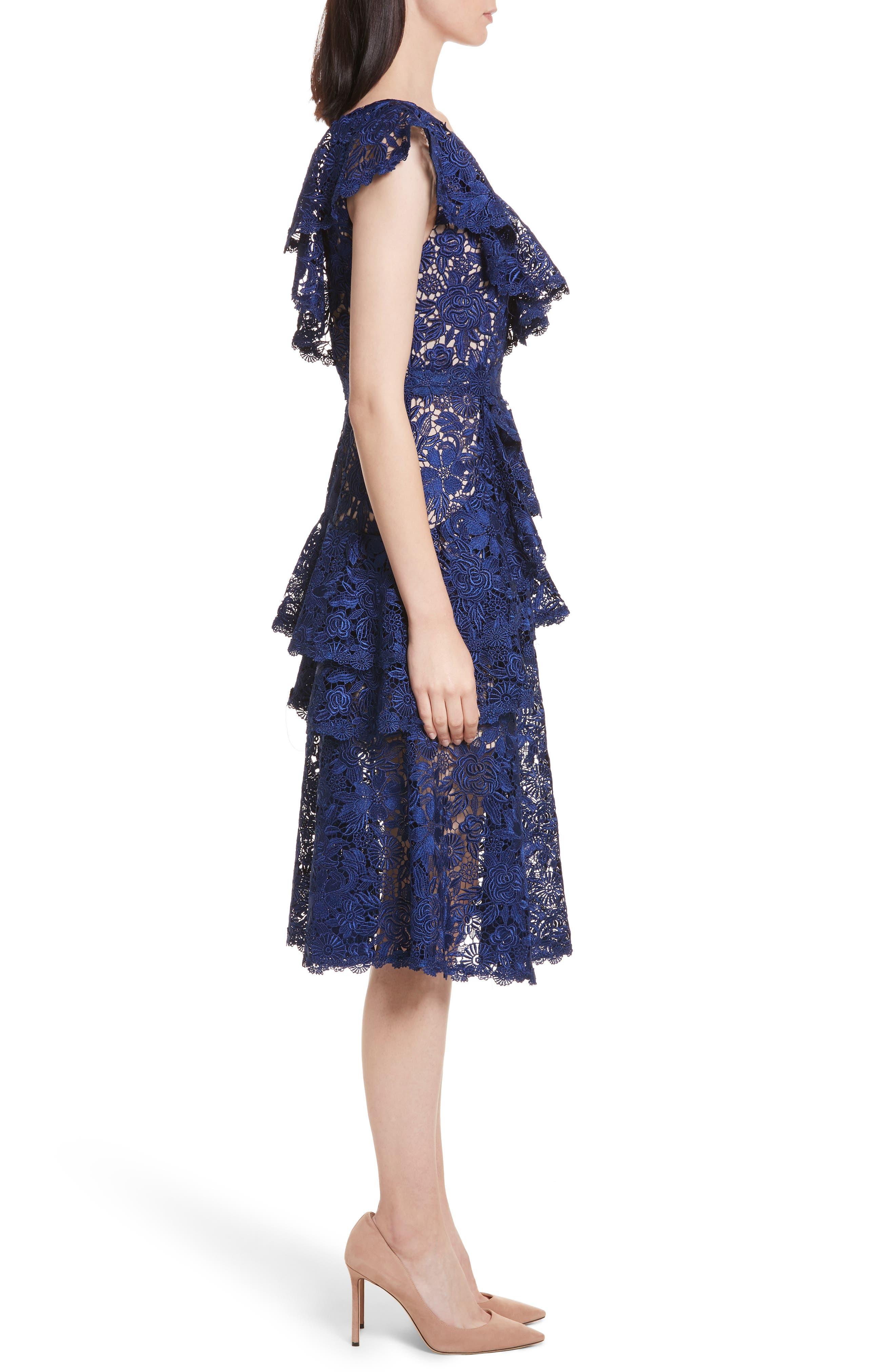 Alternate Image 3  - Alice + Olivia Florrie Ruffled Lace Midi Dress