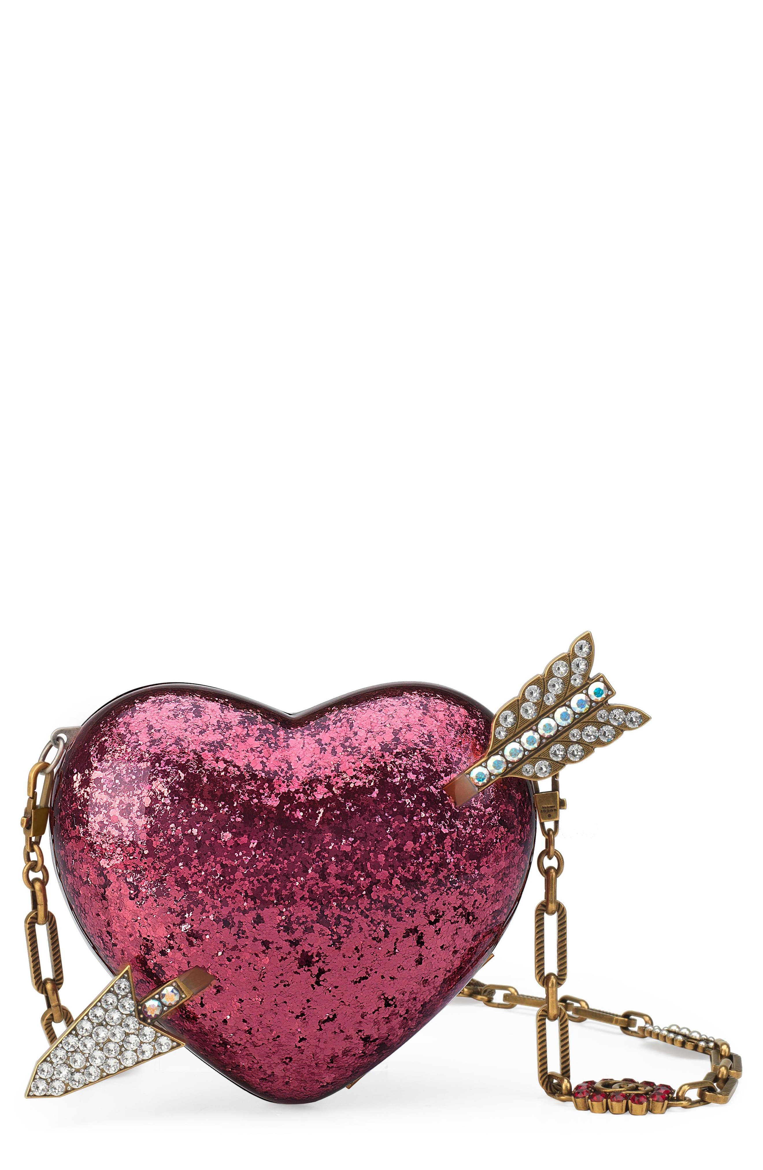 Broadway Glitter Heart Minaudière,                             Main thumbnail 1, color,                             Fuxia Multi/ Cream