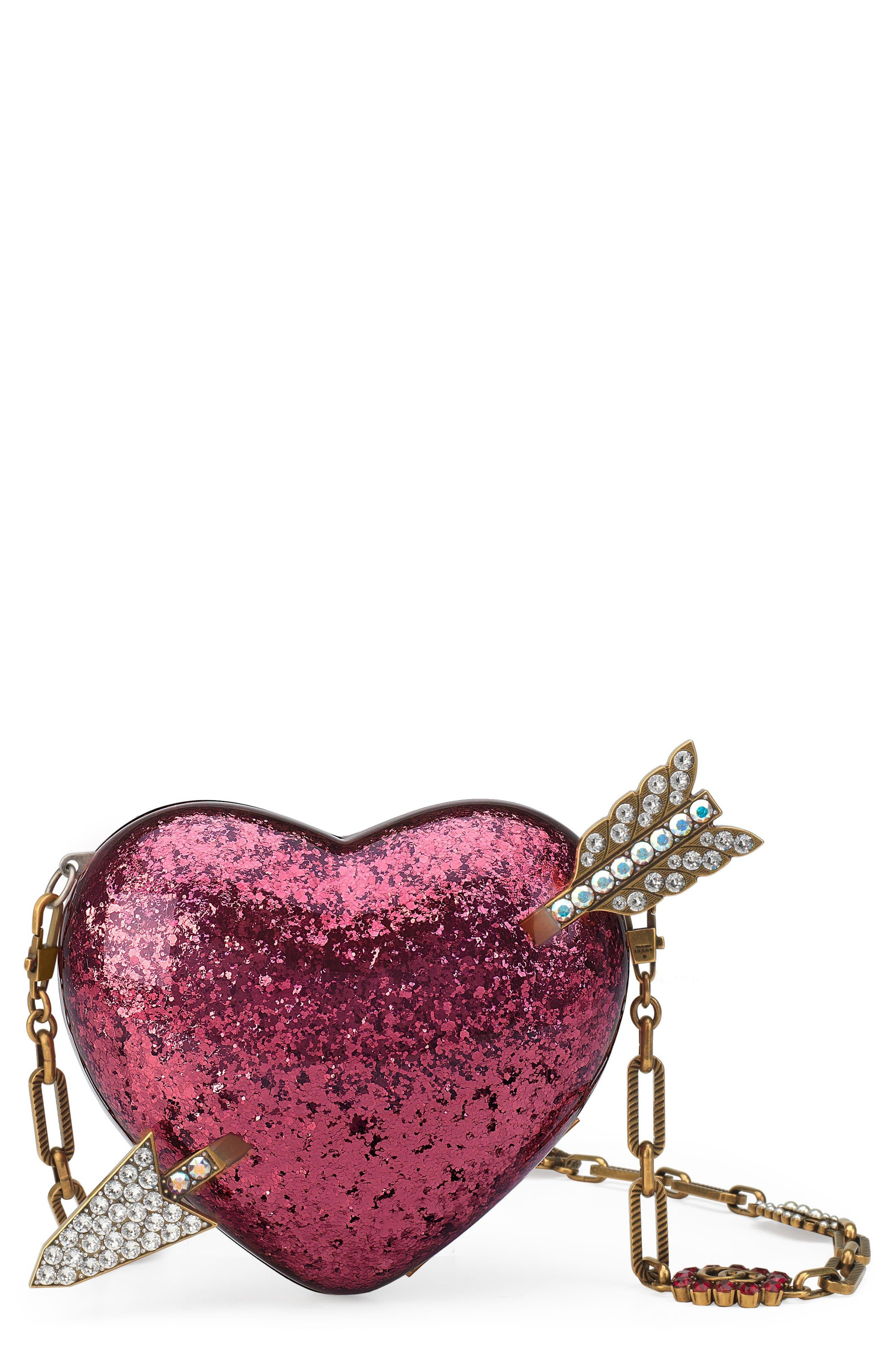 Broadway Glitter Heart Minaudière,                         Main,                         color, Fuxia Multi/ Cream