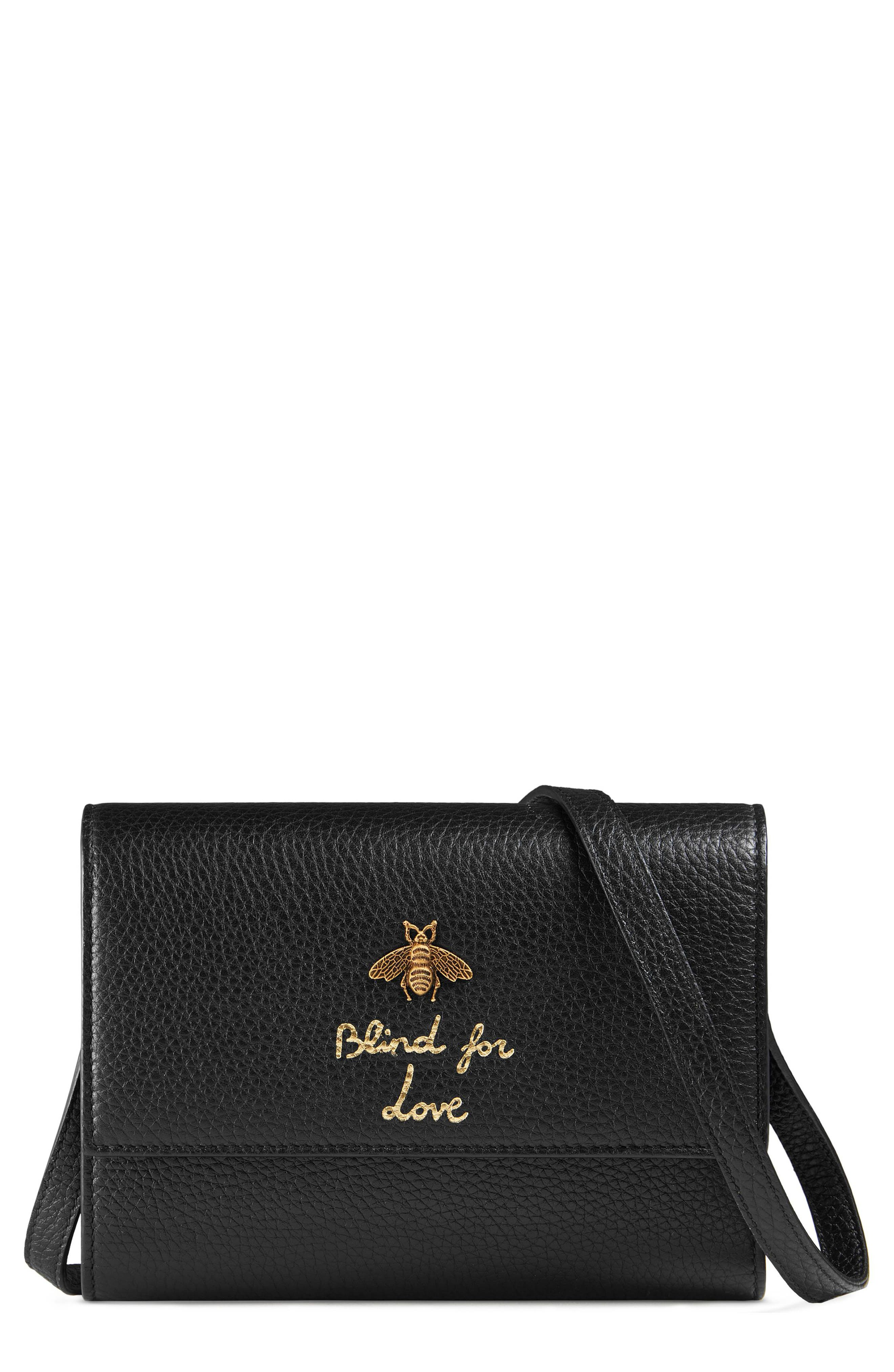 Animalier Bee Leather Wallet,                             Main thumbnail 1, color,                             Nero