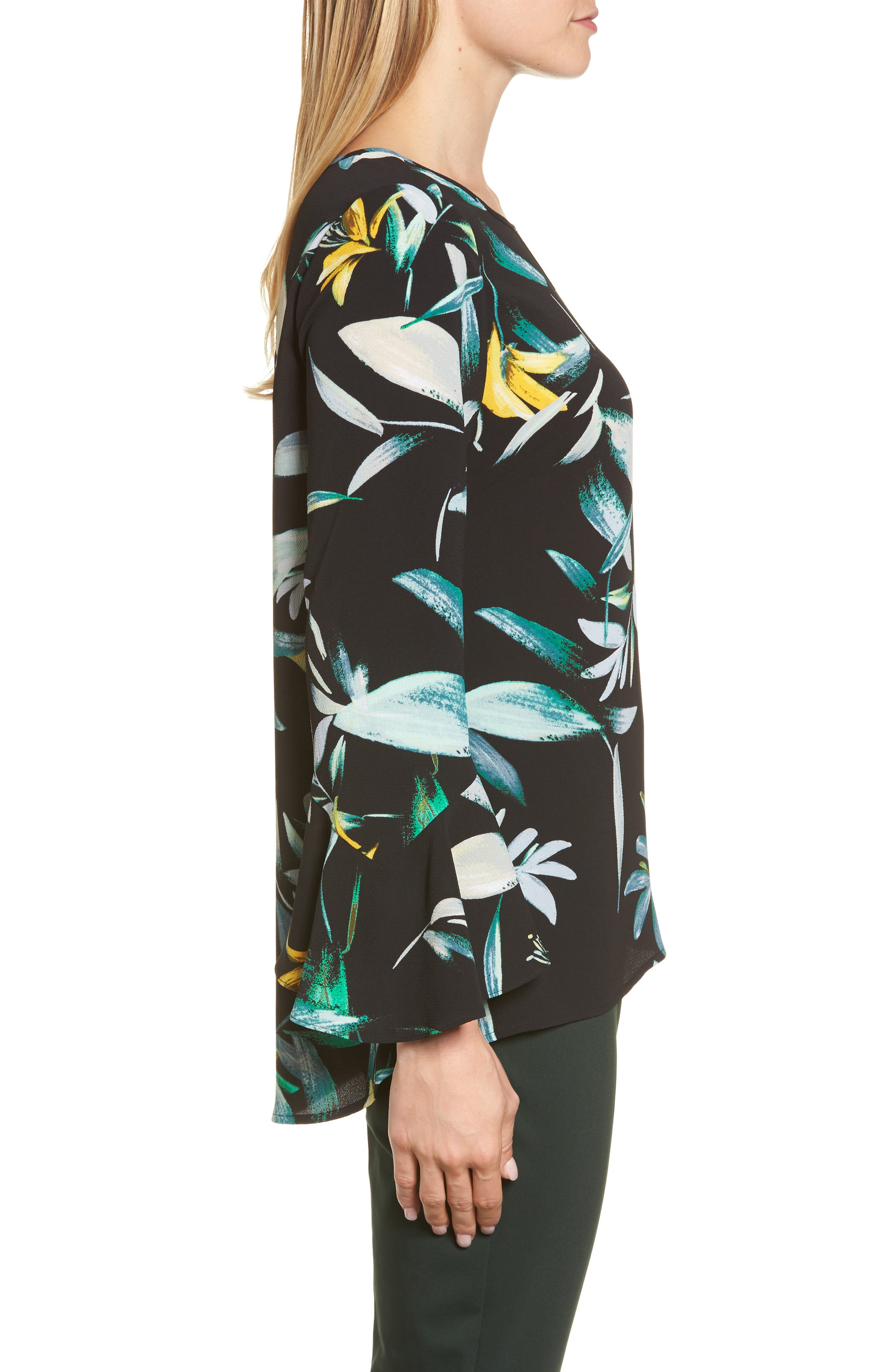 Floral Print Bell Sleeve Blouse,                             Alternate thumbnail 3, color,                             Rich Black