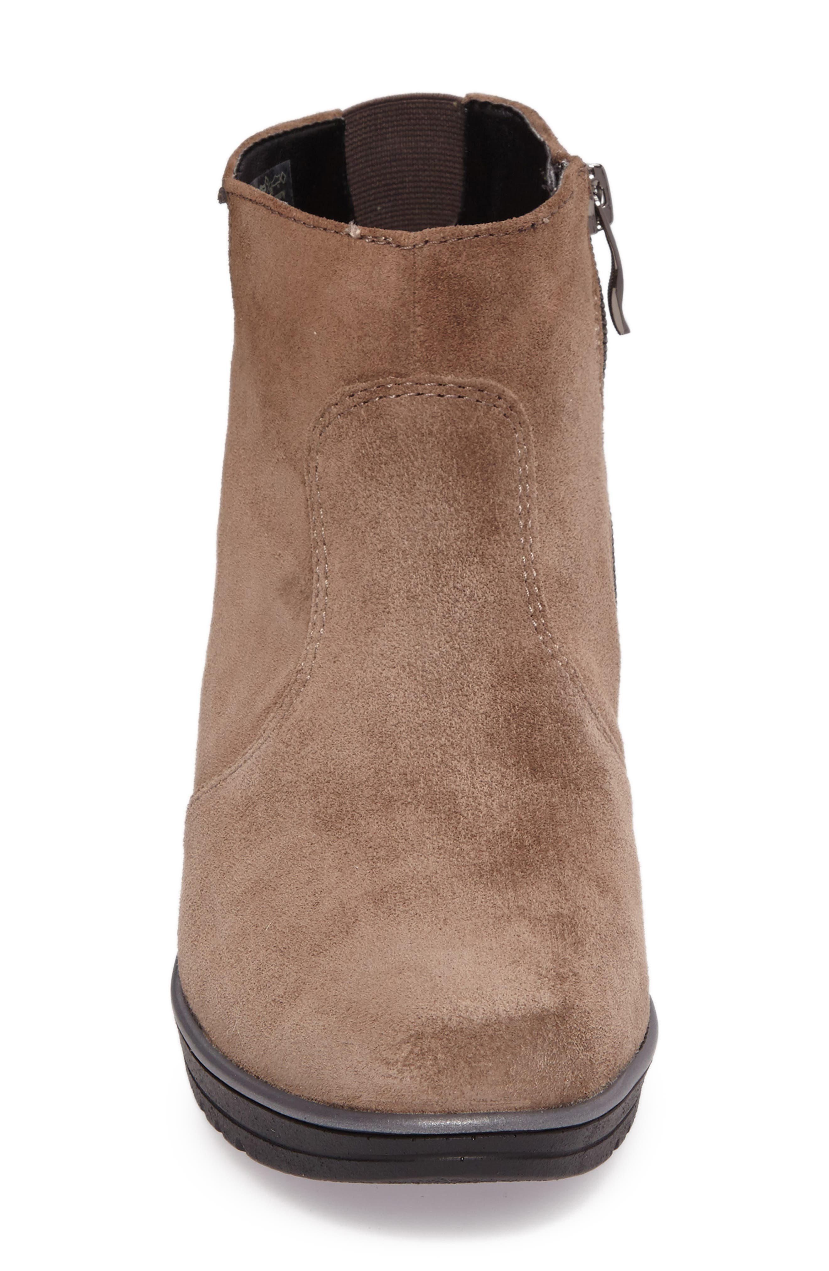 Hessa Wedge Bootie,                             Alternate thumbnail 4, color,                             Teak Suede