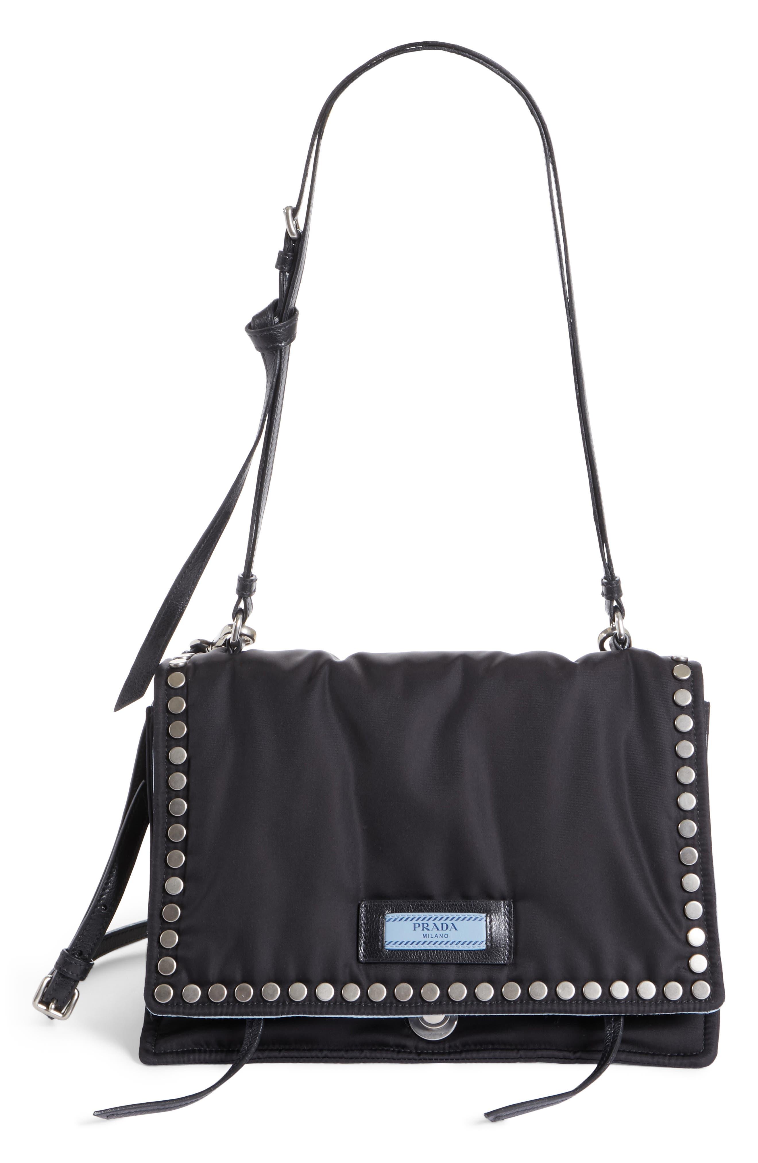 Medium Etiquette Tessuto Bag,                         Main,                         color, Nero/ Astrale