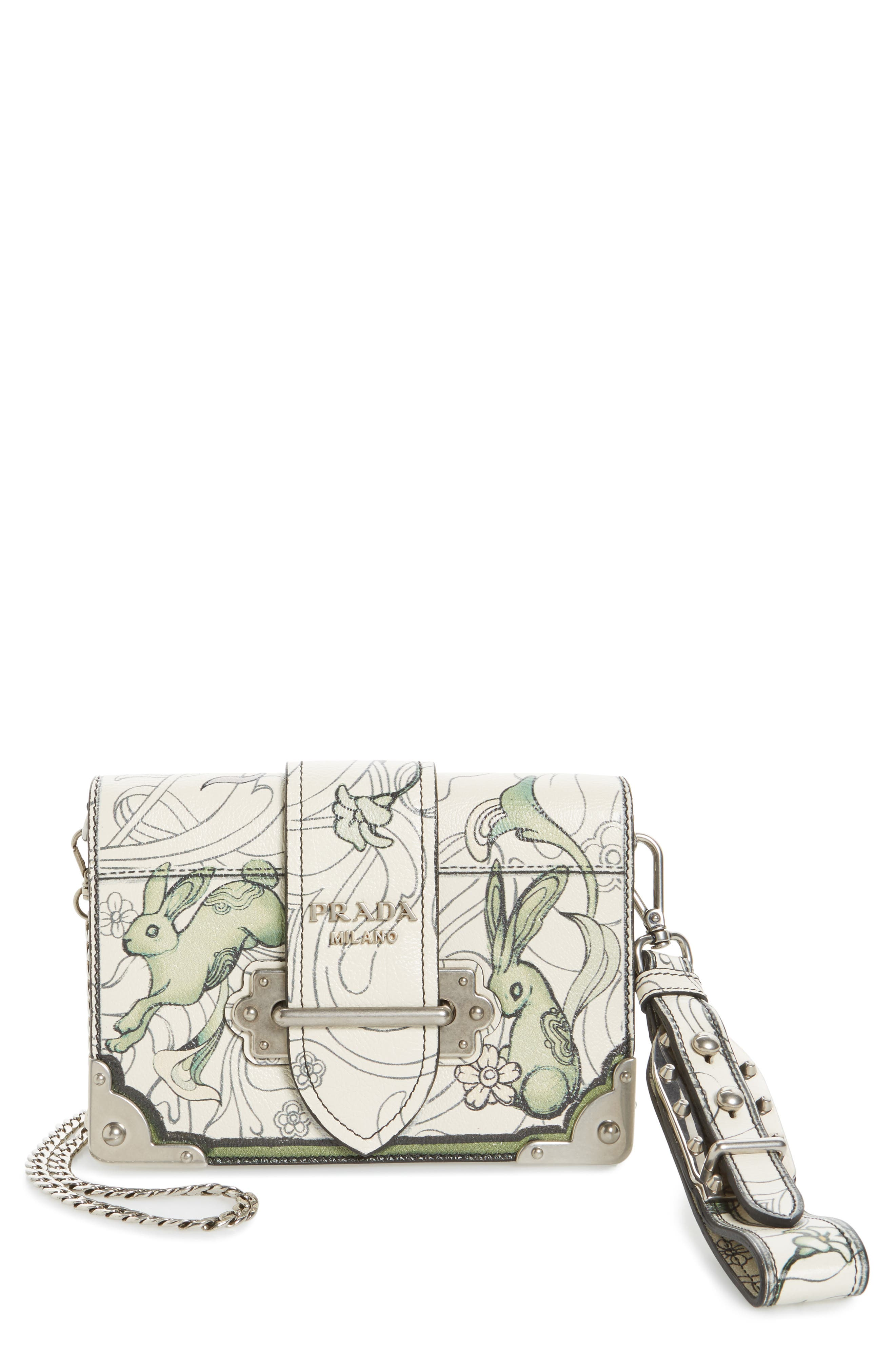 Prada Small Cahier Bunny Print Bag