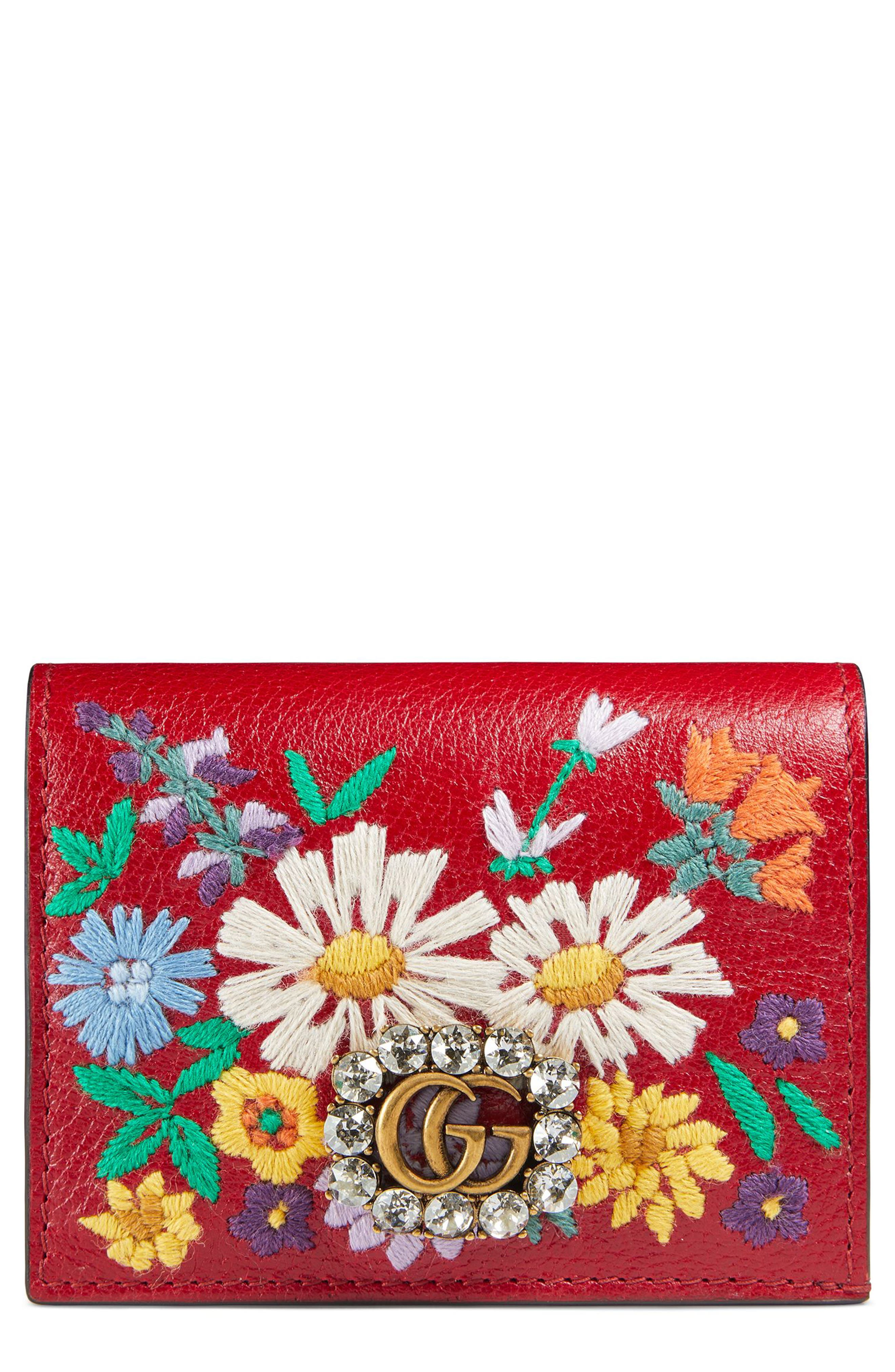 Gucci Embroidered Floral Leather Wallet