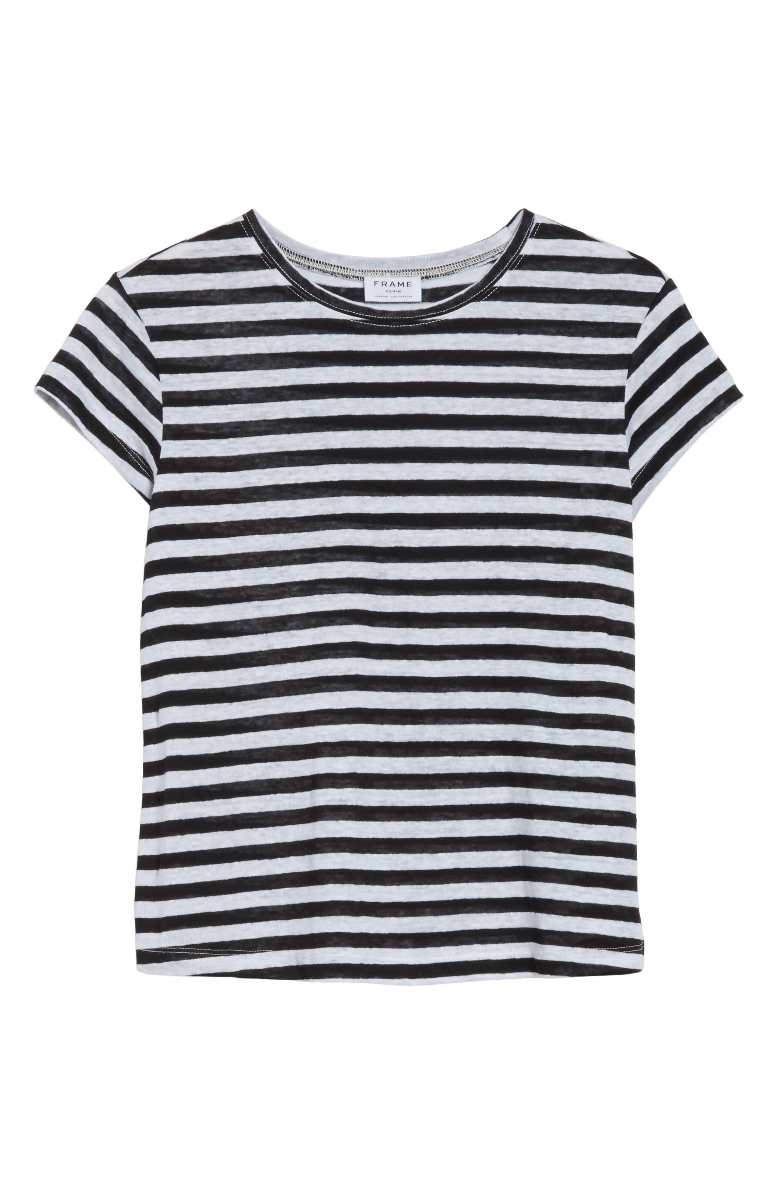 Stripe Crew Tee,                             Alternate thumbnail 8, color,                             Noir Multi Wide Stripe