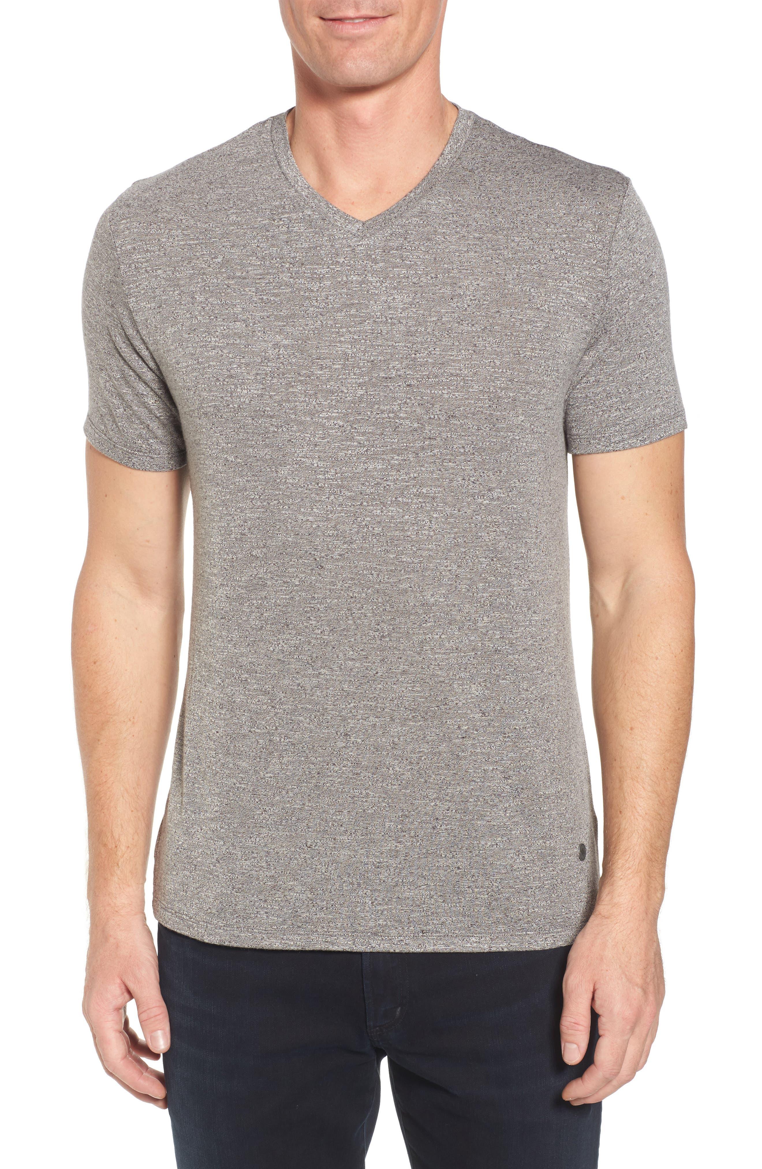 Flame Slubbed V-Neck T-Shirt,                         Main,                         color, Grey