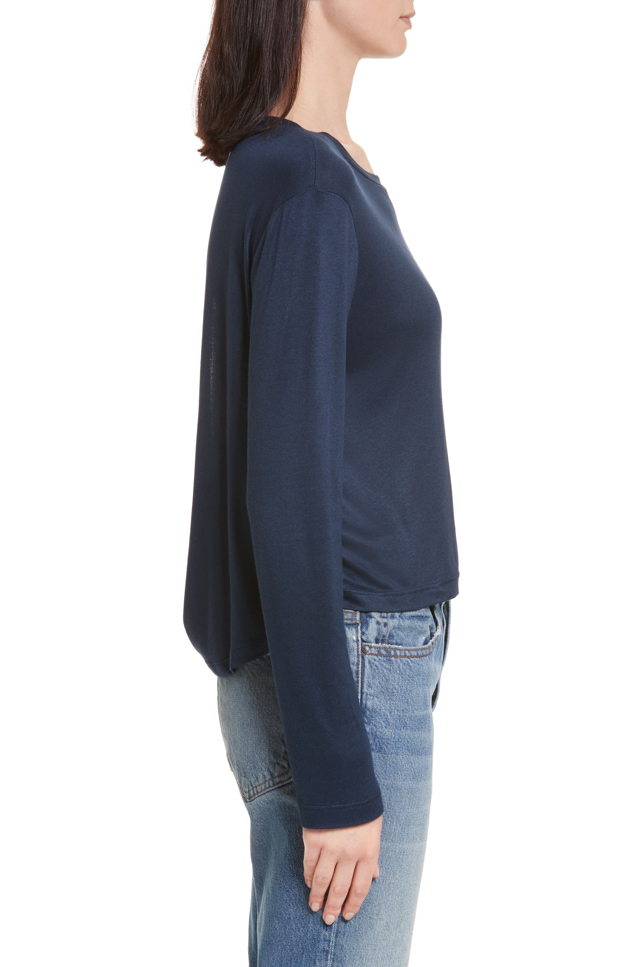 Willow Shine Jersey Open Back Top,                             Alternate thumbnail 4, color,                             Dark Navy
