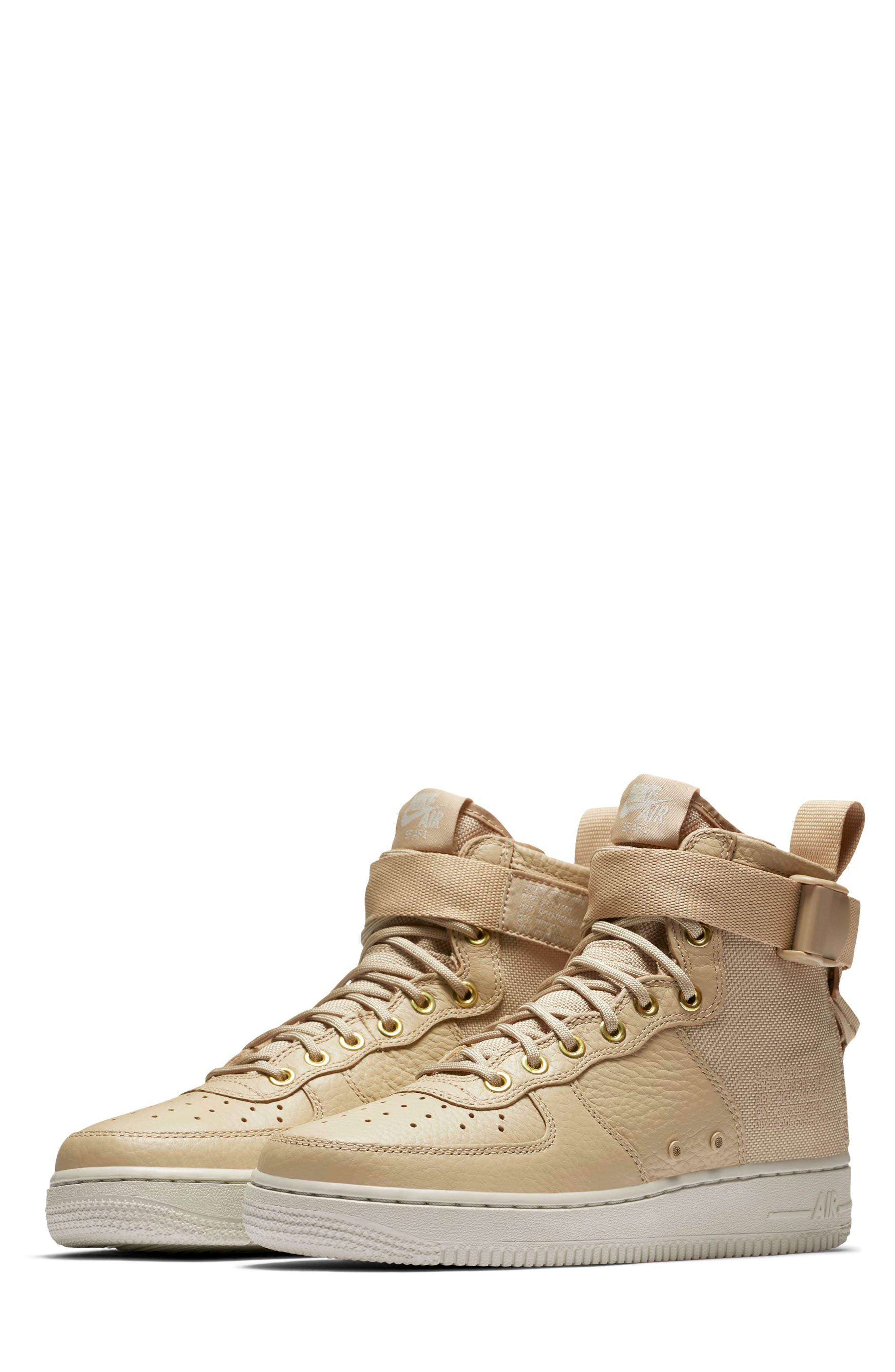 SF Air Force 1 Mid Sneaker,                             Main thumbnail 1, color,                             Mushroom/ Mushroom/ Light Bone