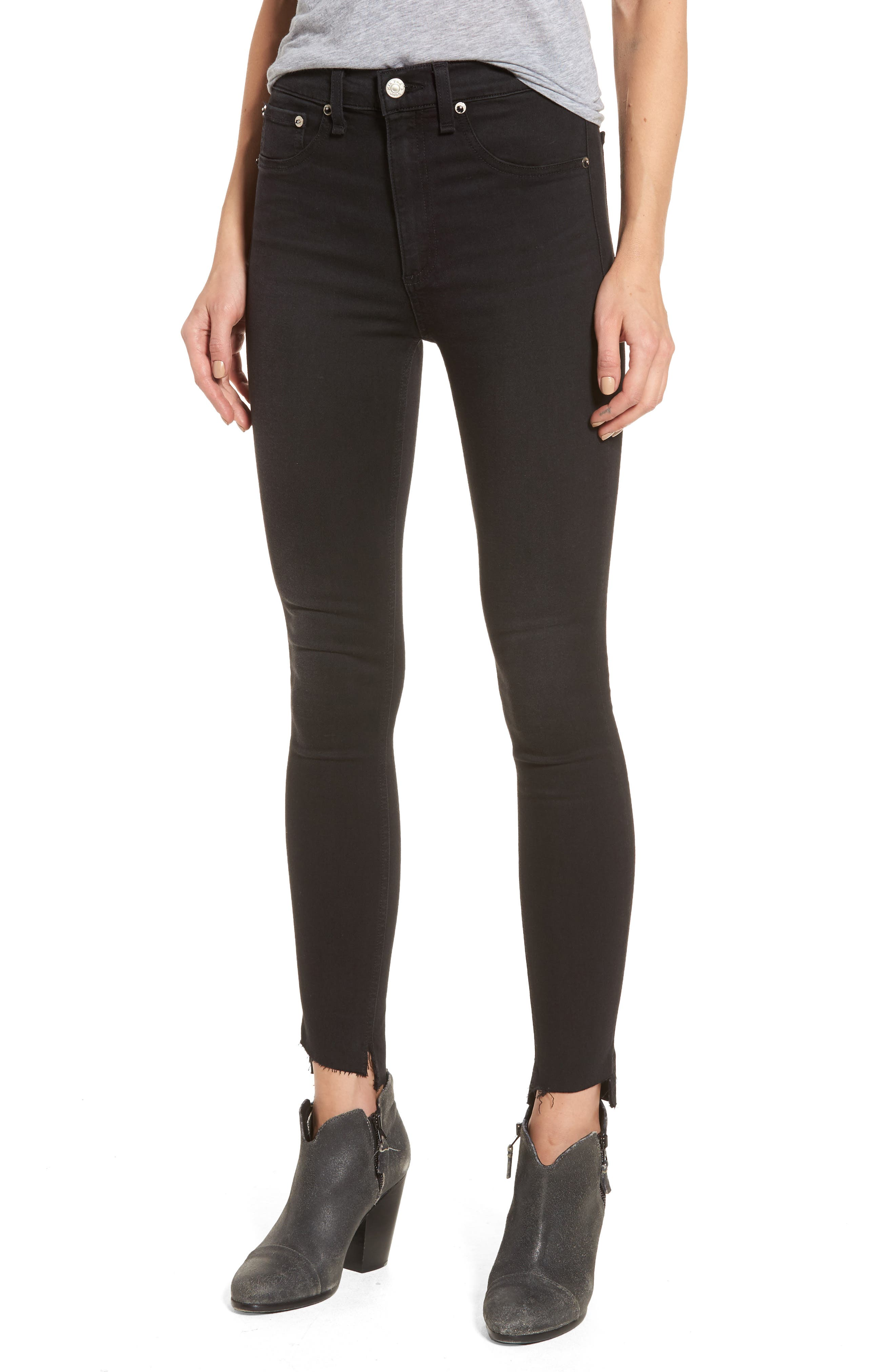 rag & bone/JEAN High Waist Skinny Jeans (Washed Black Commodore)