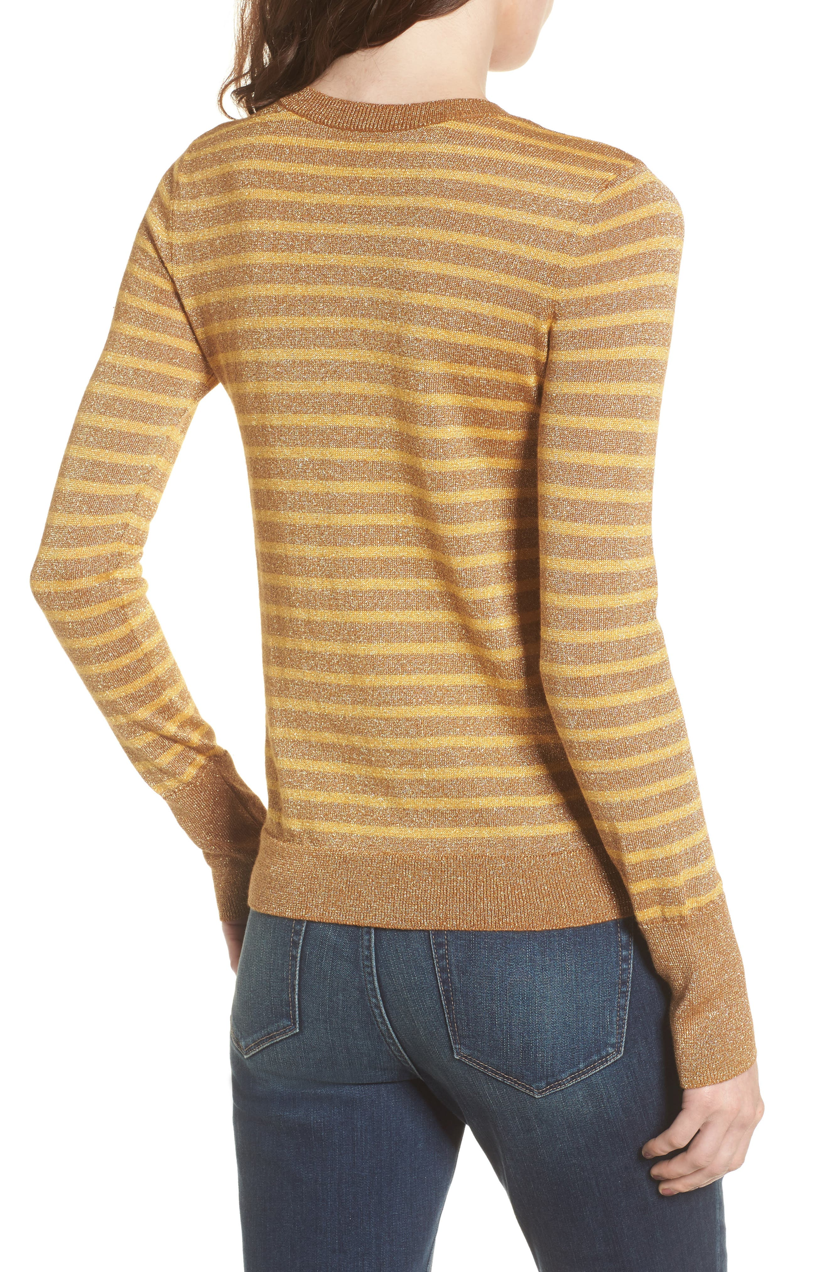 Sparkle Stripe Sweater,                             Alternate thumbnail 2, color,                             Yellow Mineral Combo