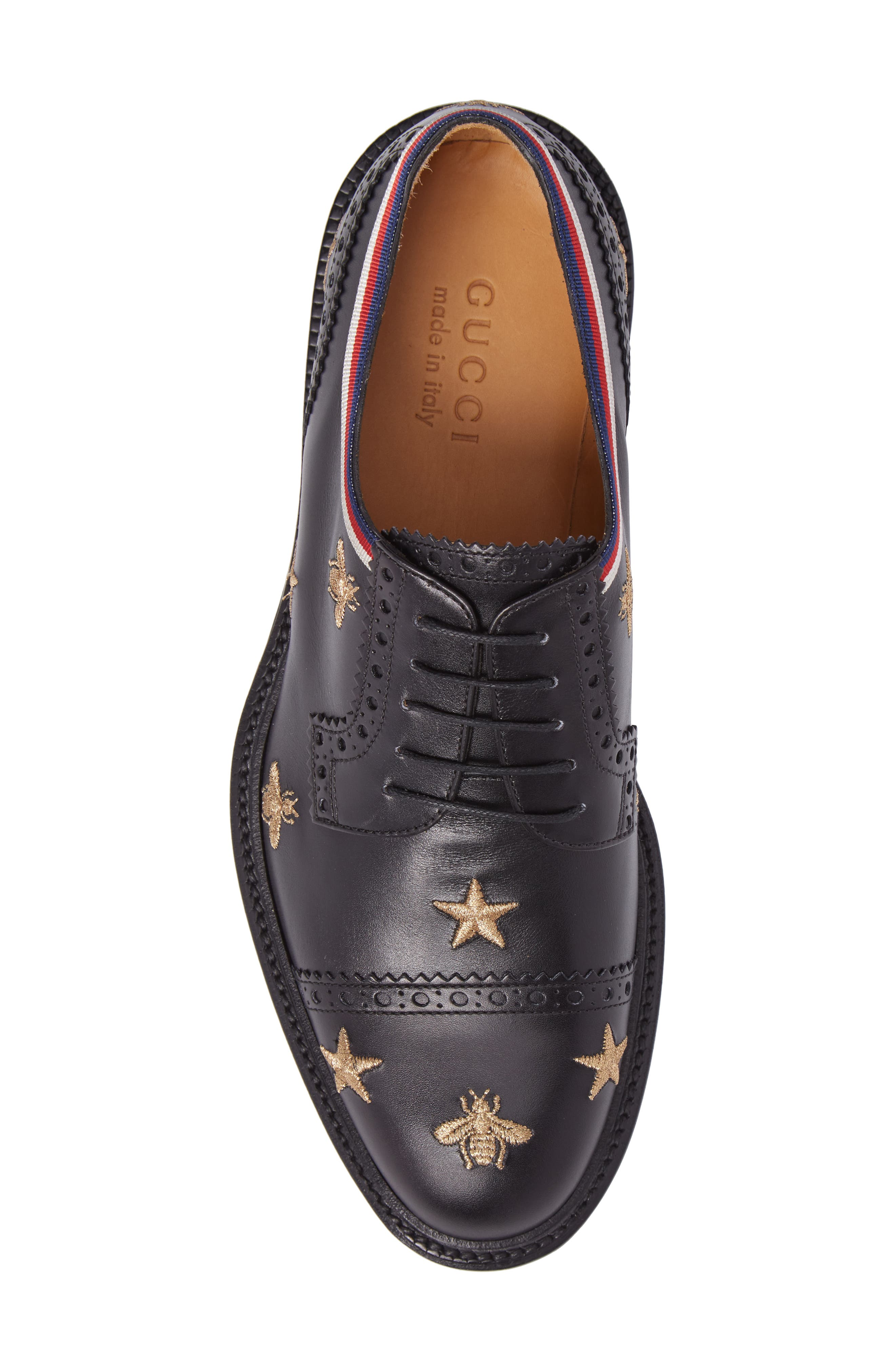 Embroidered Leather Brogue Shoe,                             Alternate thumbnail 5, color,                             Black