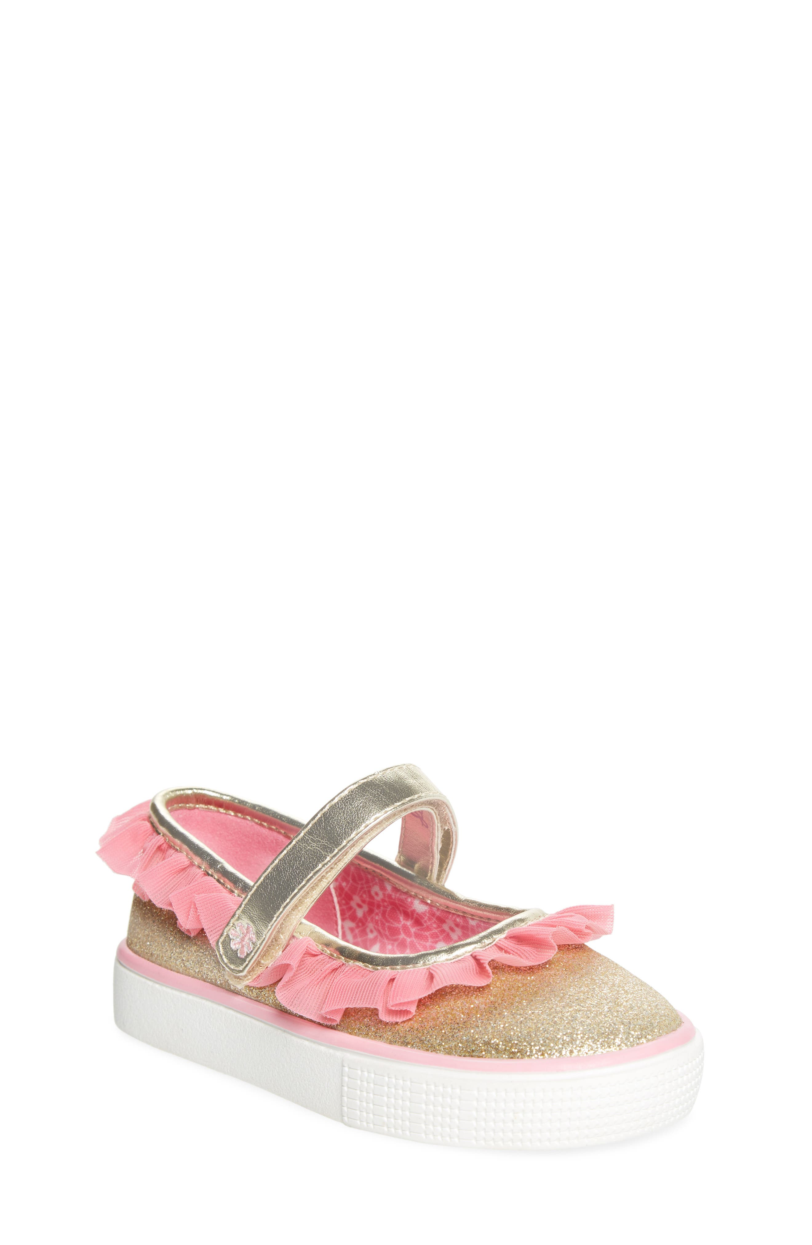 Ashlyn Tulle Mary Jane Sneaker,                             Main thumbnail 1, color,                             Gold