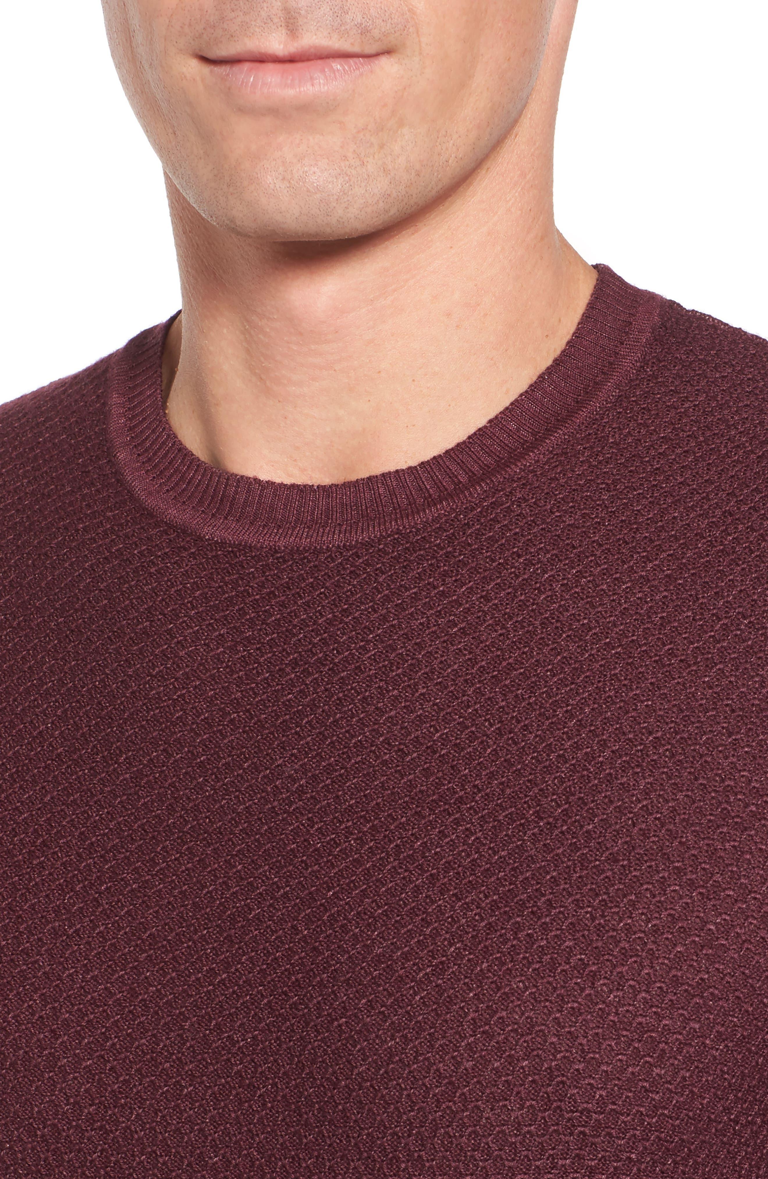 Honeycomb Merino Crewneck Sweater,                             Alternate thumbnail 4, color,                             Burgundy
