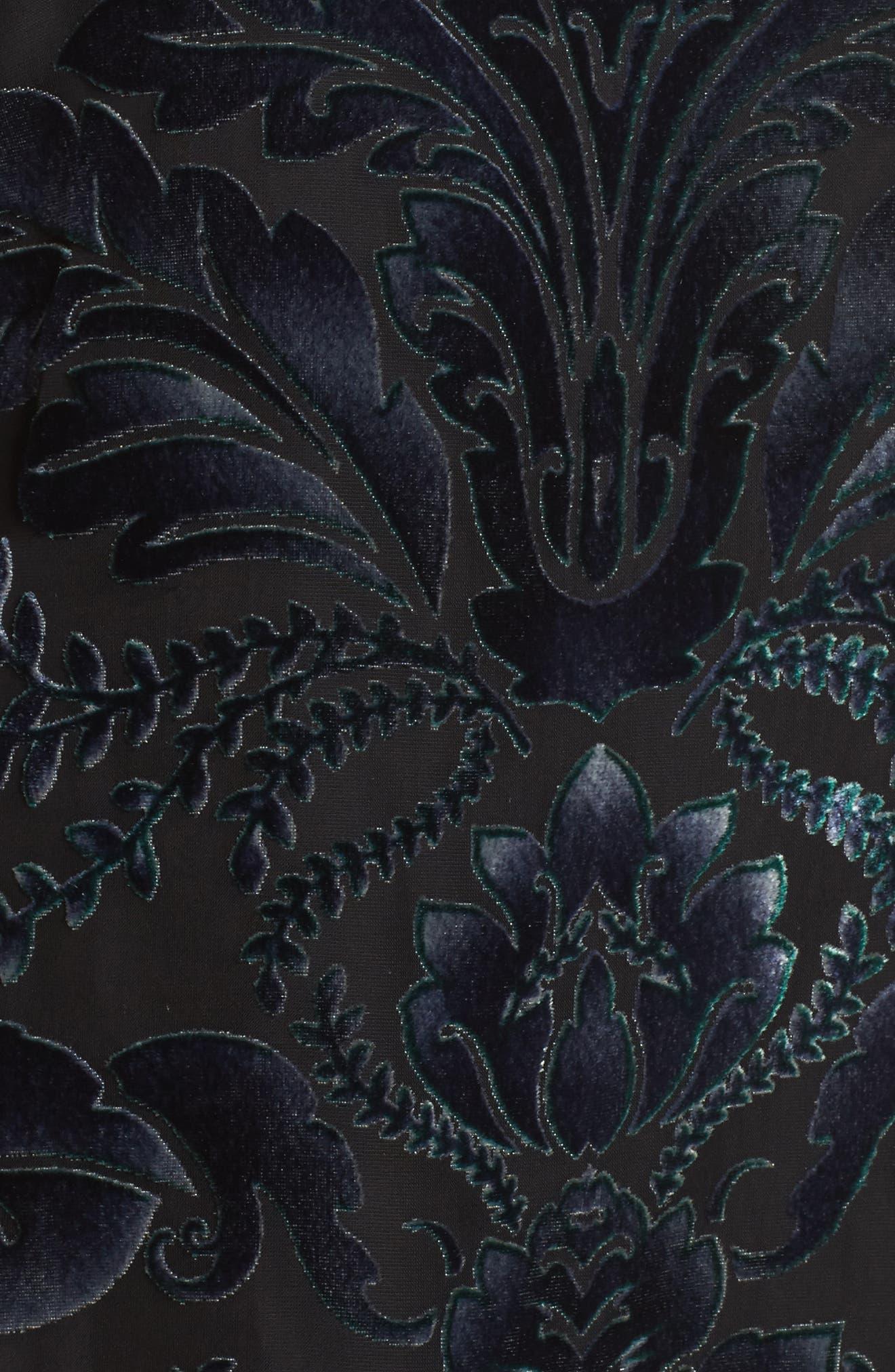 Off the Shoulder Velvet Dress,                             Alternate thumbnail 5, color,                             Black/ Navy/ Green