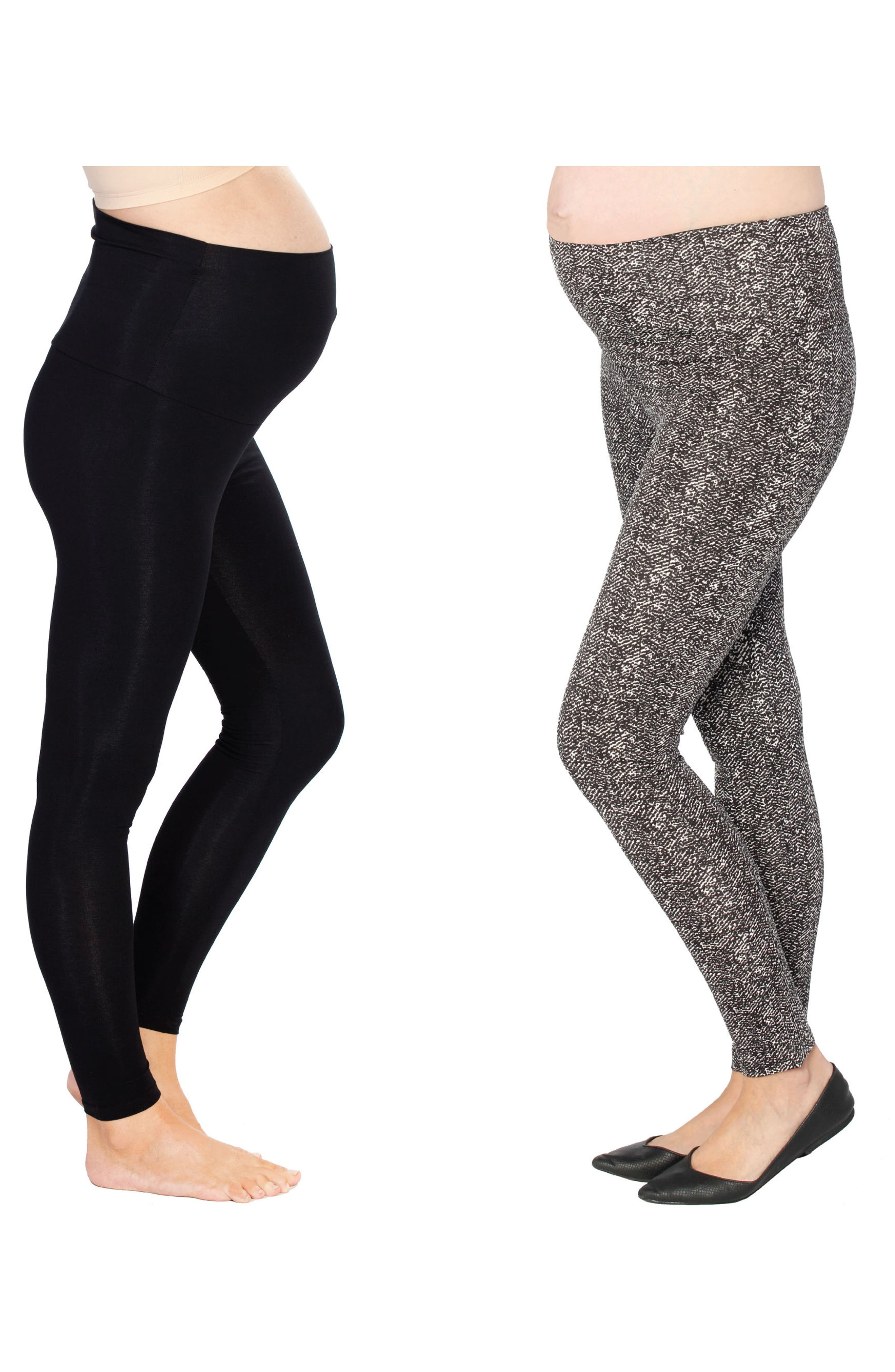 Set of 2 Maternity Leggings,                             Alternate thumbnail 2, color,                             Print/ Black