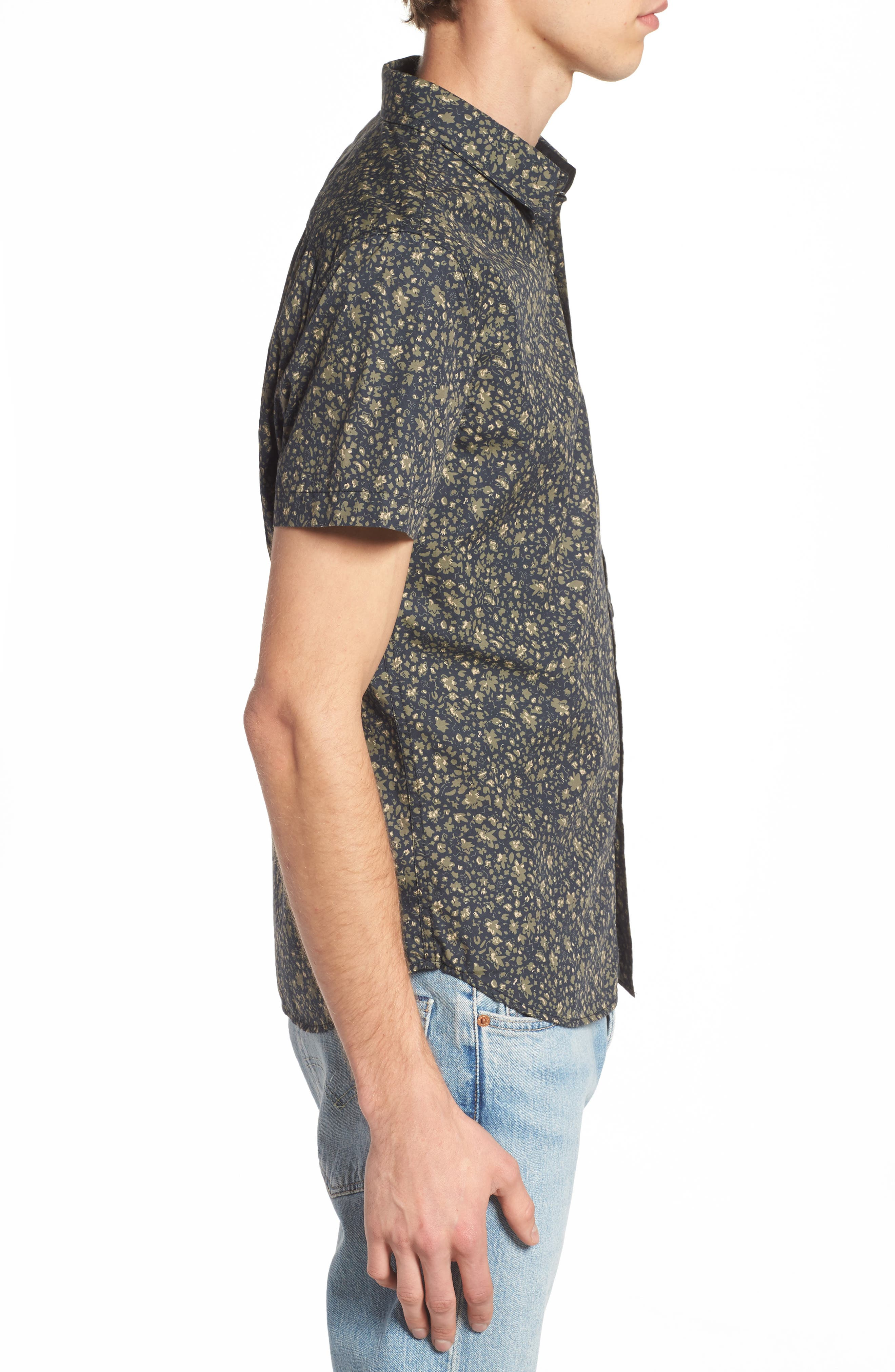 Nash Slim Fit Print Sport Shirt,                             Alternate thumbnail 3, color,                             Floral Camo Black/ Ivy