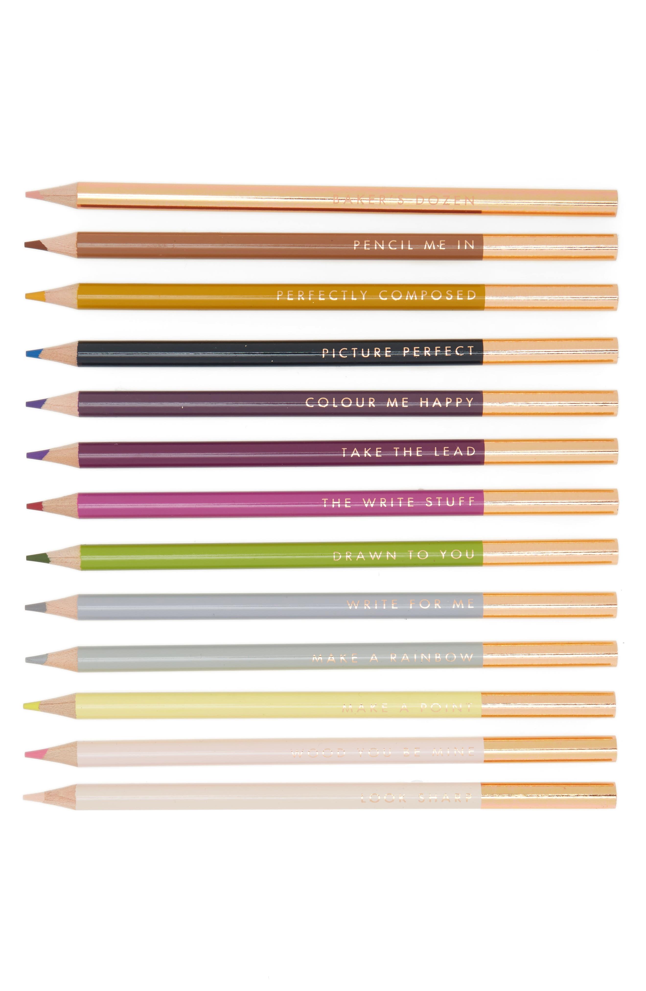 Baker's Dozen Set of 13 Coloring Pencils,                             Main thumbnail 1, color,                             Rose Gold Core
