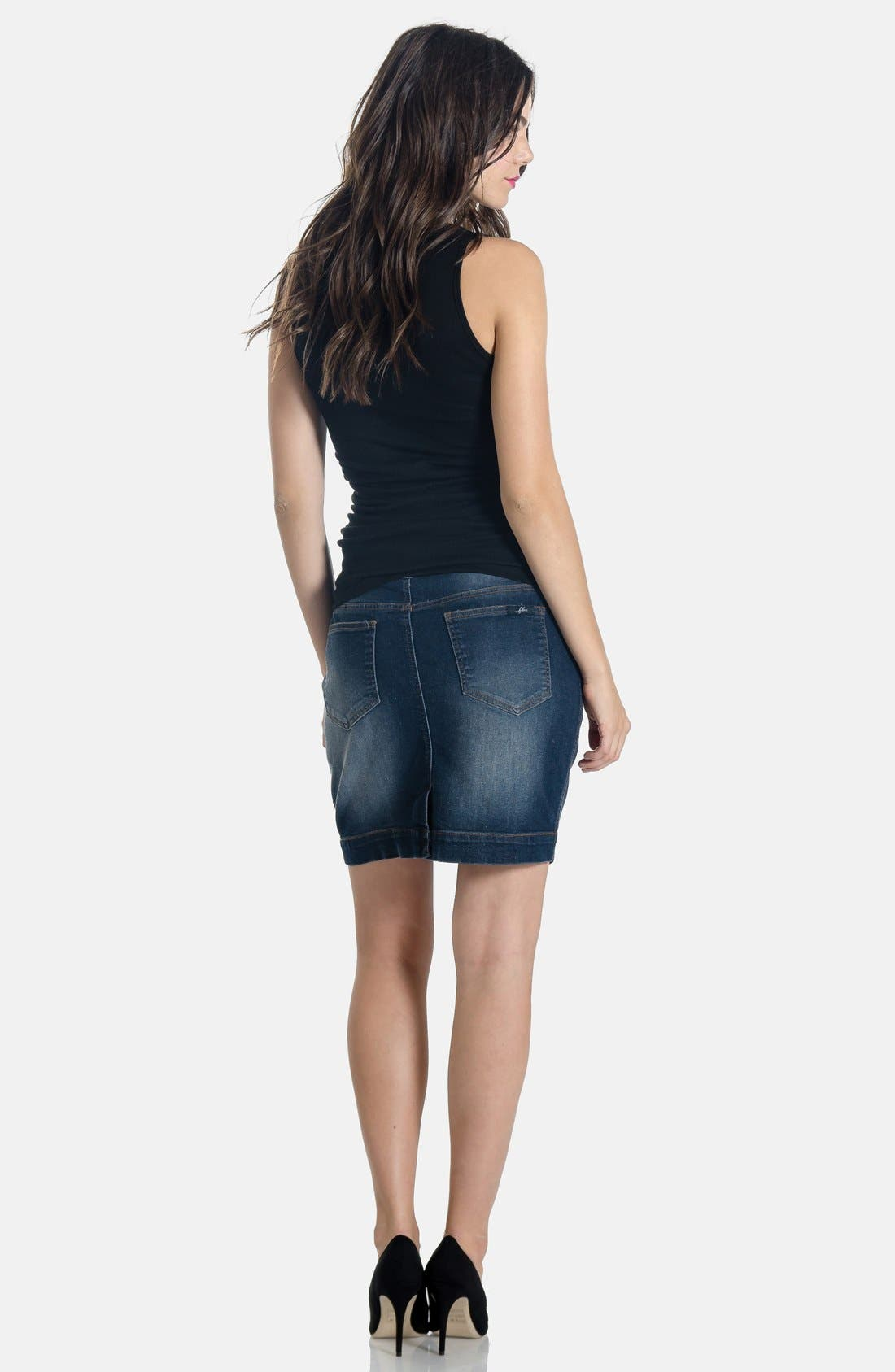Alternate Image 2  - Lilac Clothing Denim Maternity Skirt