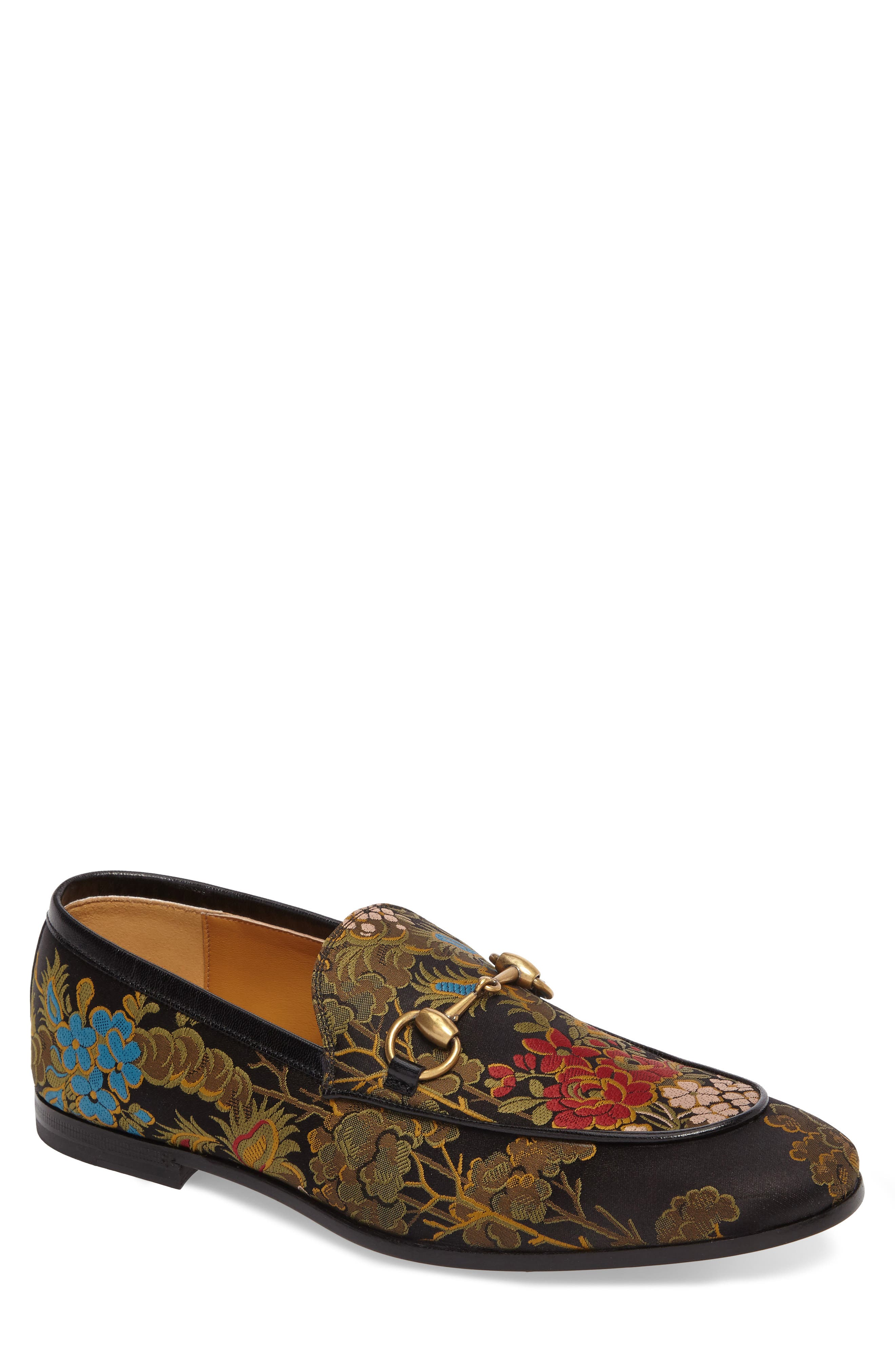 Alternate Image 1 Selected - Gucci Jordaan Jacquard Bit Loafer (Men)