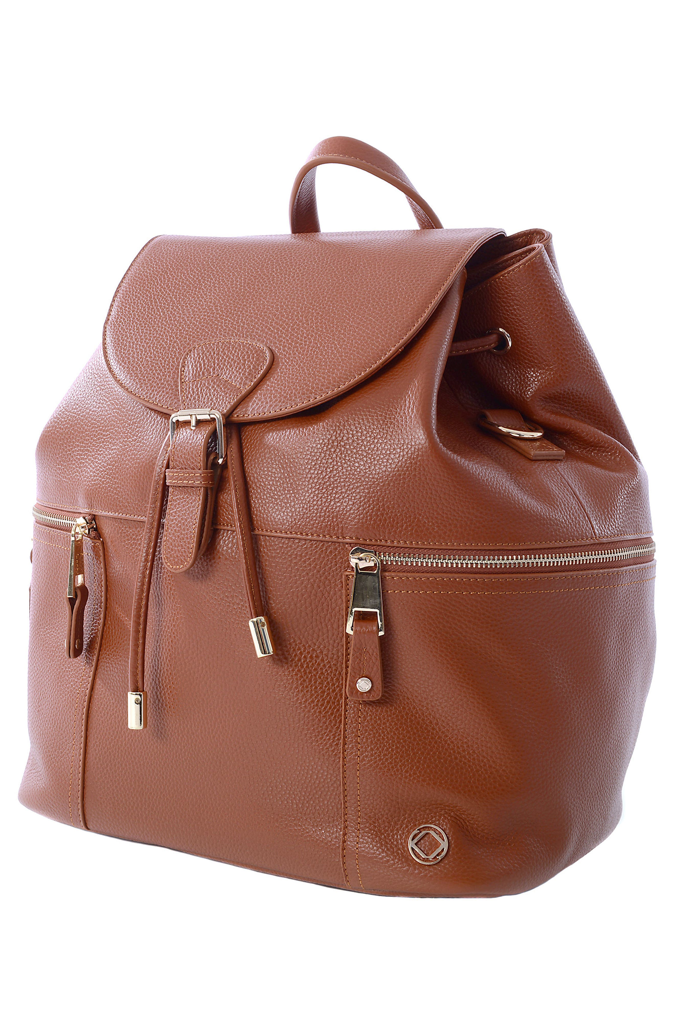 Thor Leather Backpack,                             Alternate thumbnail 7, color,                             Tan With Light Gold Hardware
