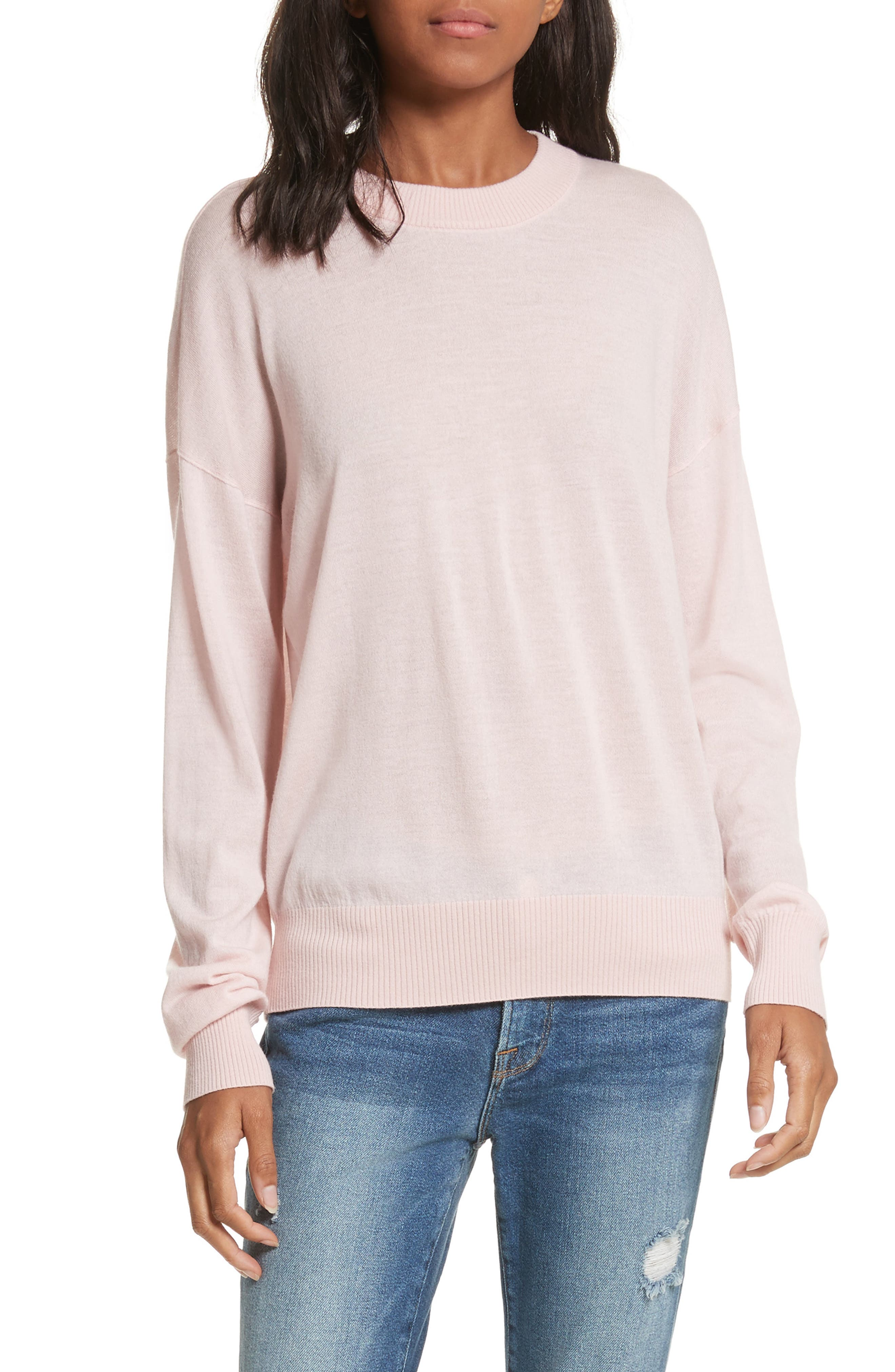 True Crewneck Wool Sweater,                             Main thumbnail 1, color,                             Powder Pink