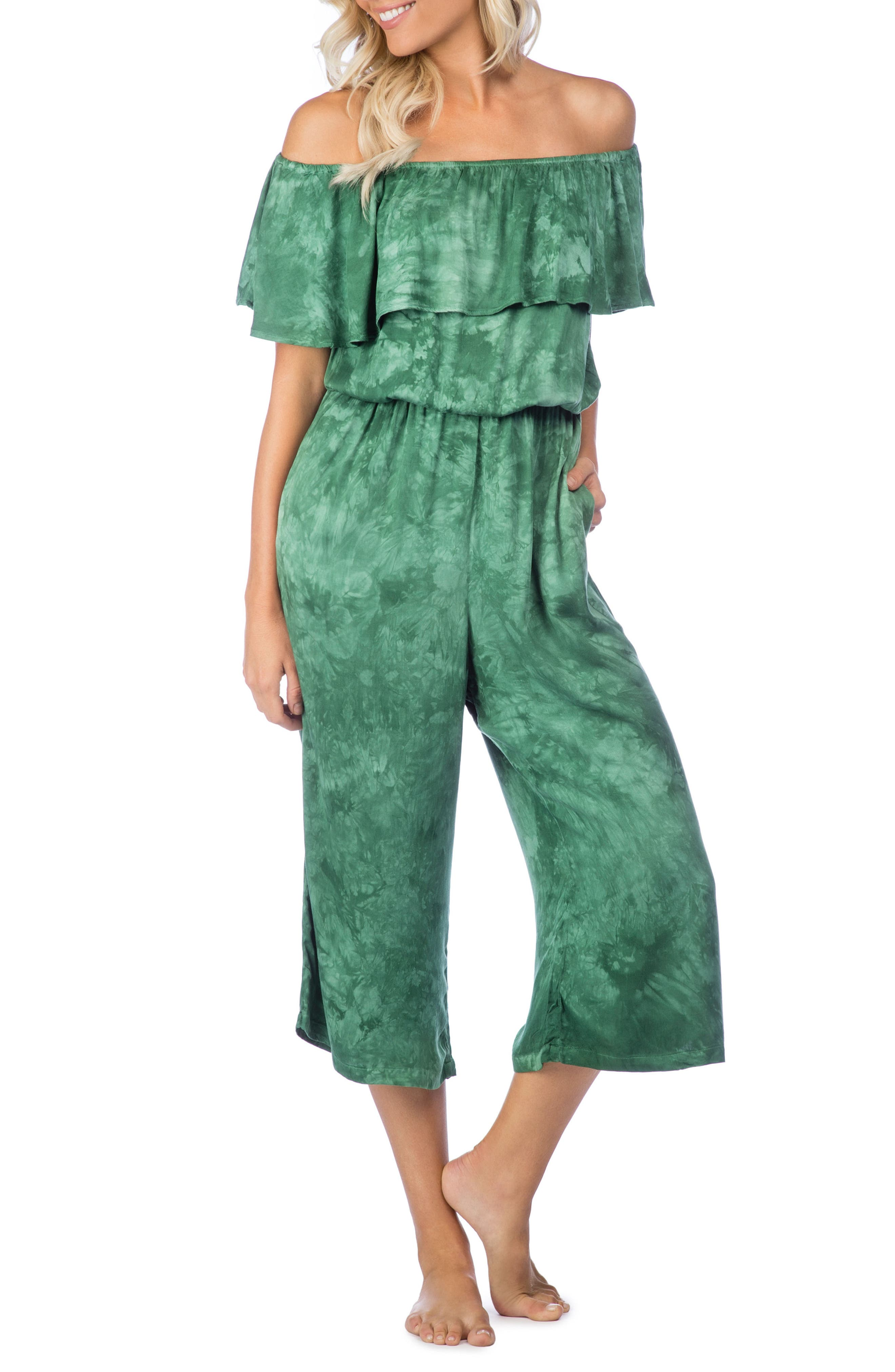 Crystal Forest Mira Cover-Up Jumpsuit,                             Main thumbnail 1, color,                             Hunter
