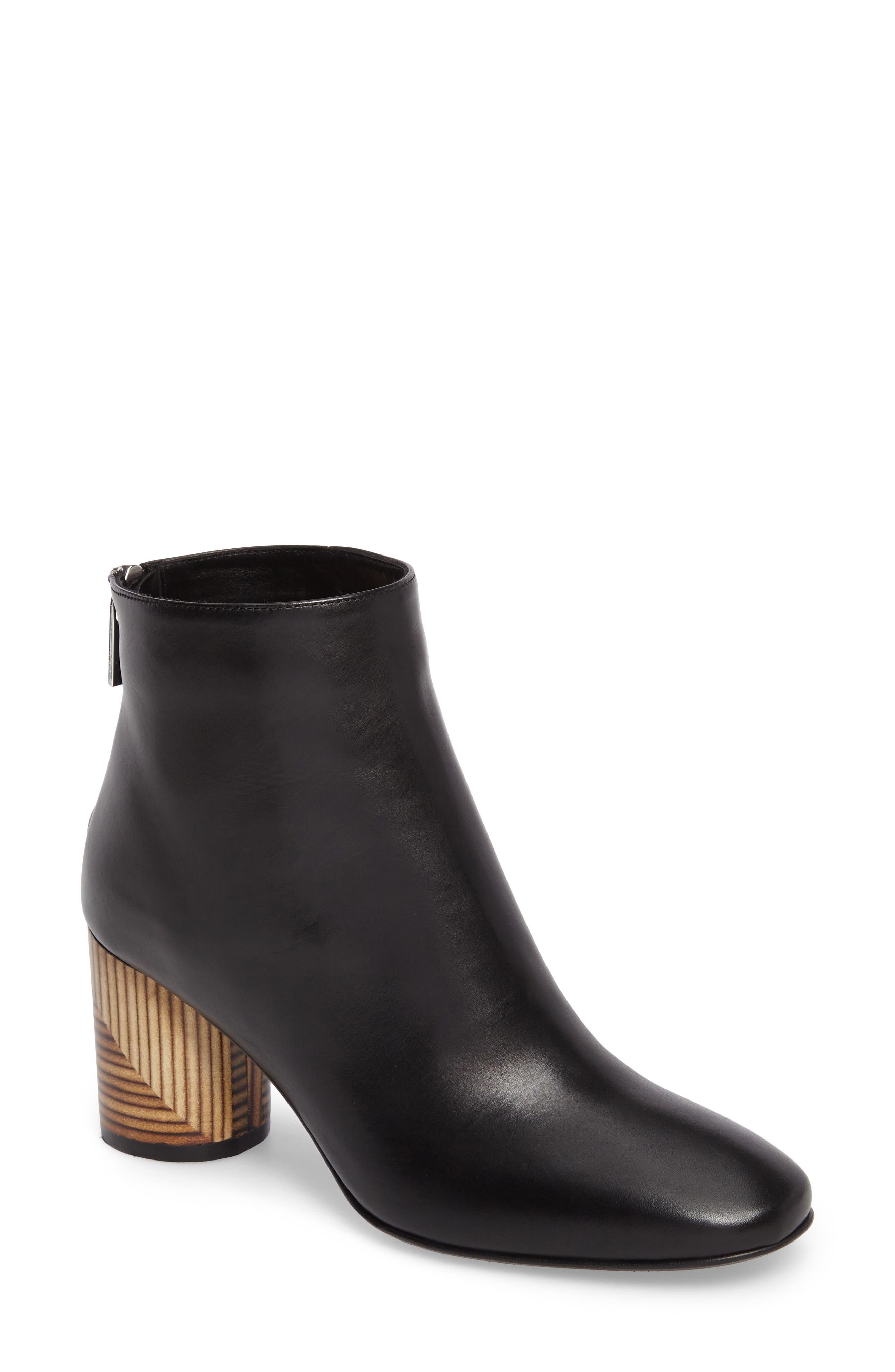 Francesca Block Heel Boot,                         Main,                         color, Black Leather