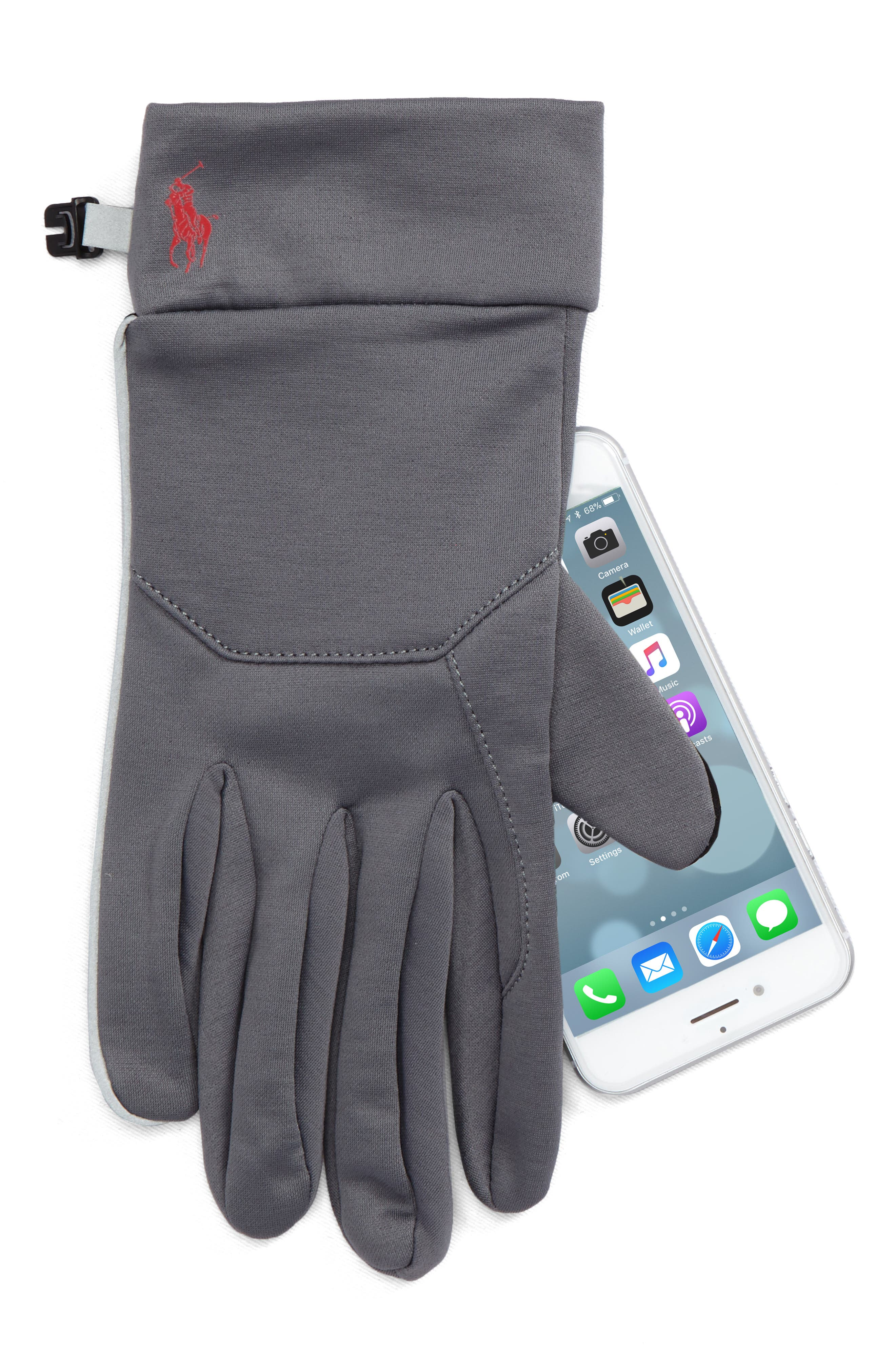 Classic Sport Tech Gloves,                             Alternate thumbnail 3, color,                             Gray/ Red