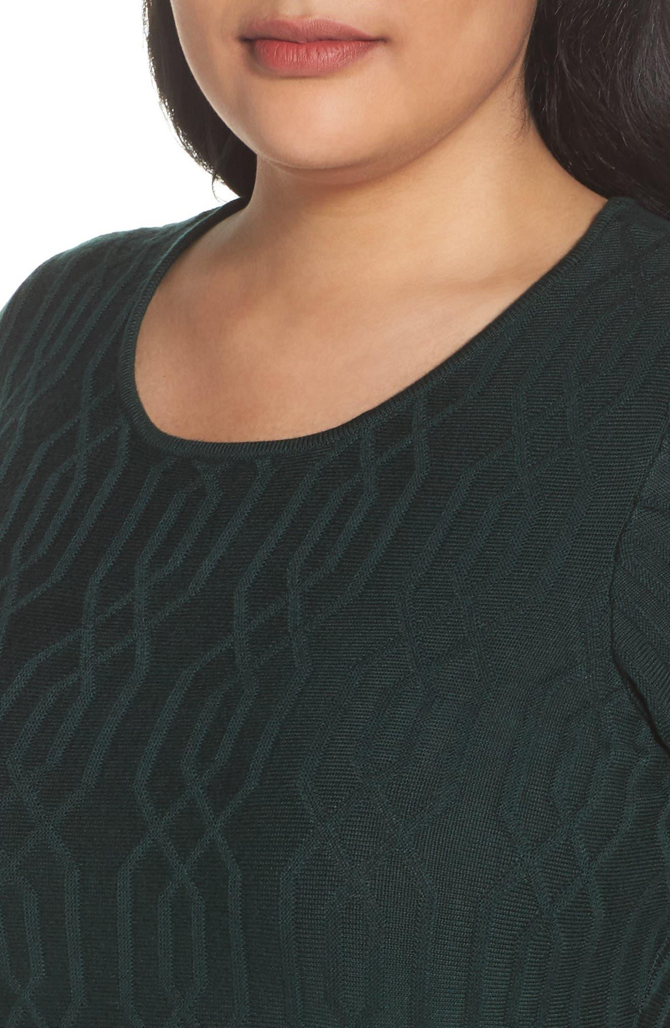 Jacquard Knit Fit & Flare Dress,                             Alternate thumbnail 4, color,                             Green