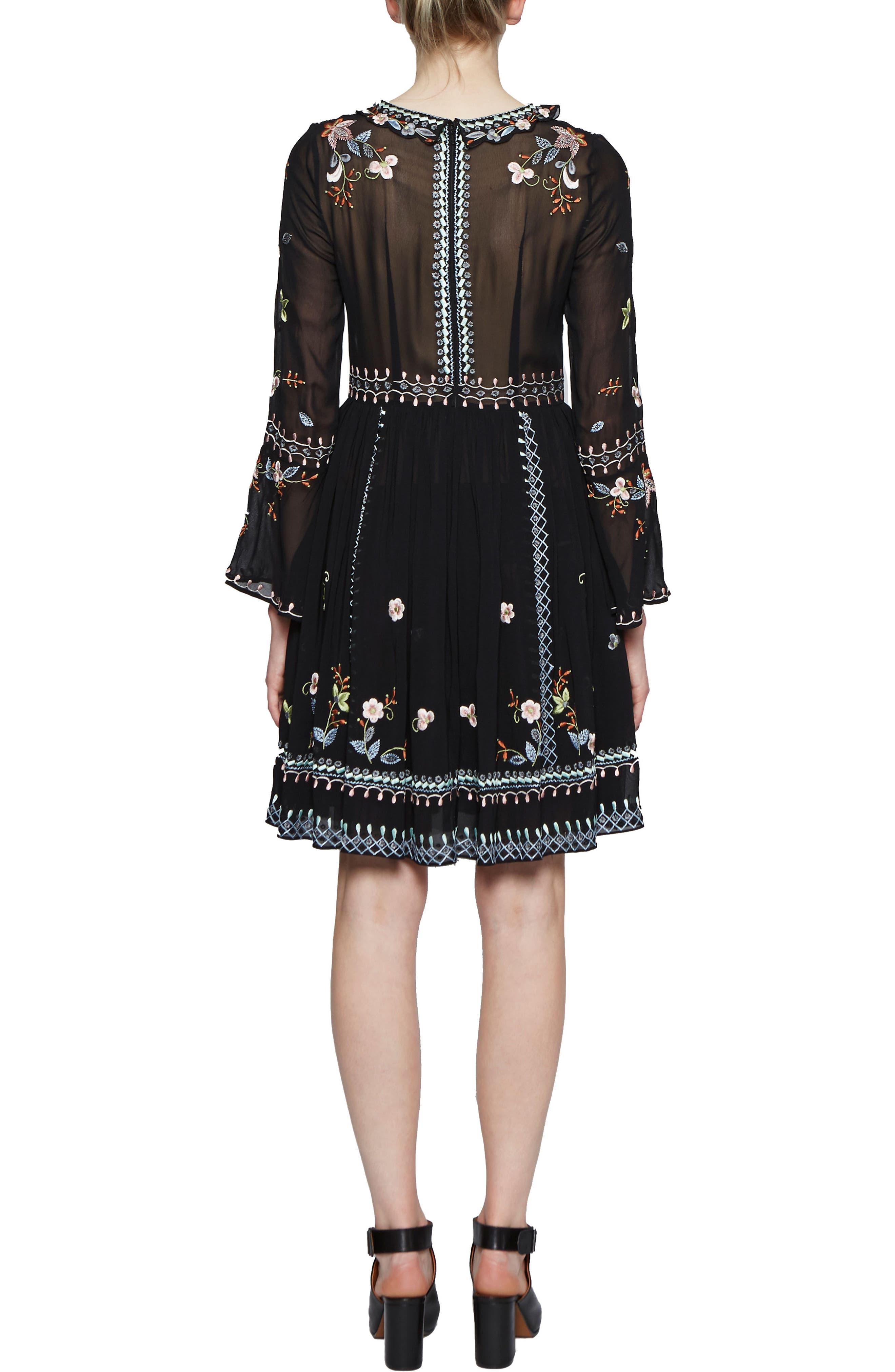 Bijou Stitch A-Line Dress,                             Alternate thumbnail 2, color,                             Black Multi