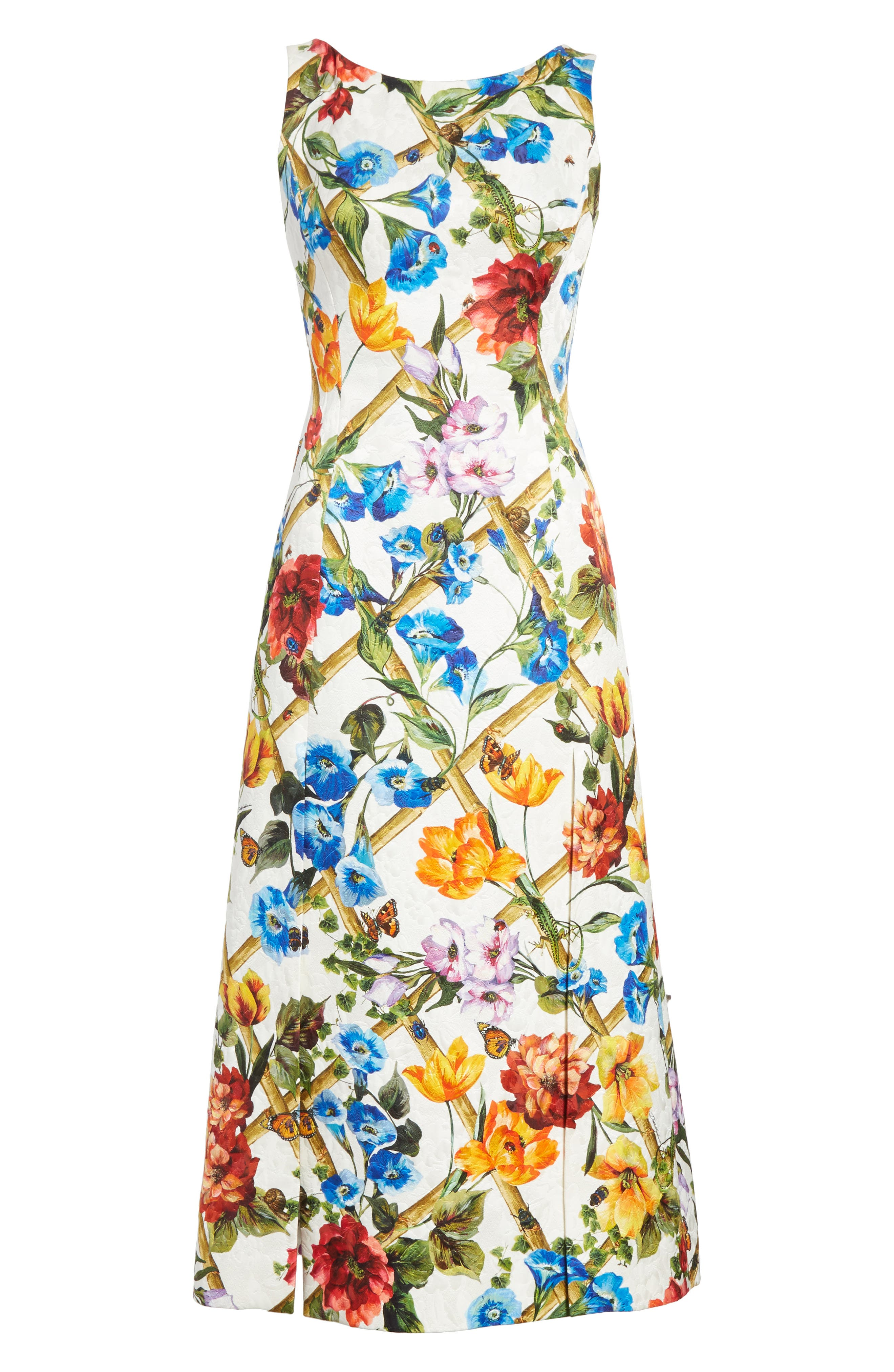 Slit Floral Brocade Dress,                             Alternate thumbnail 6, color,                             White
