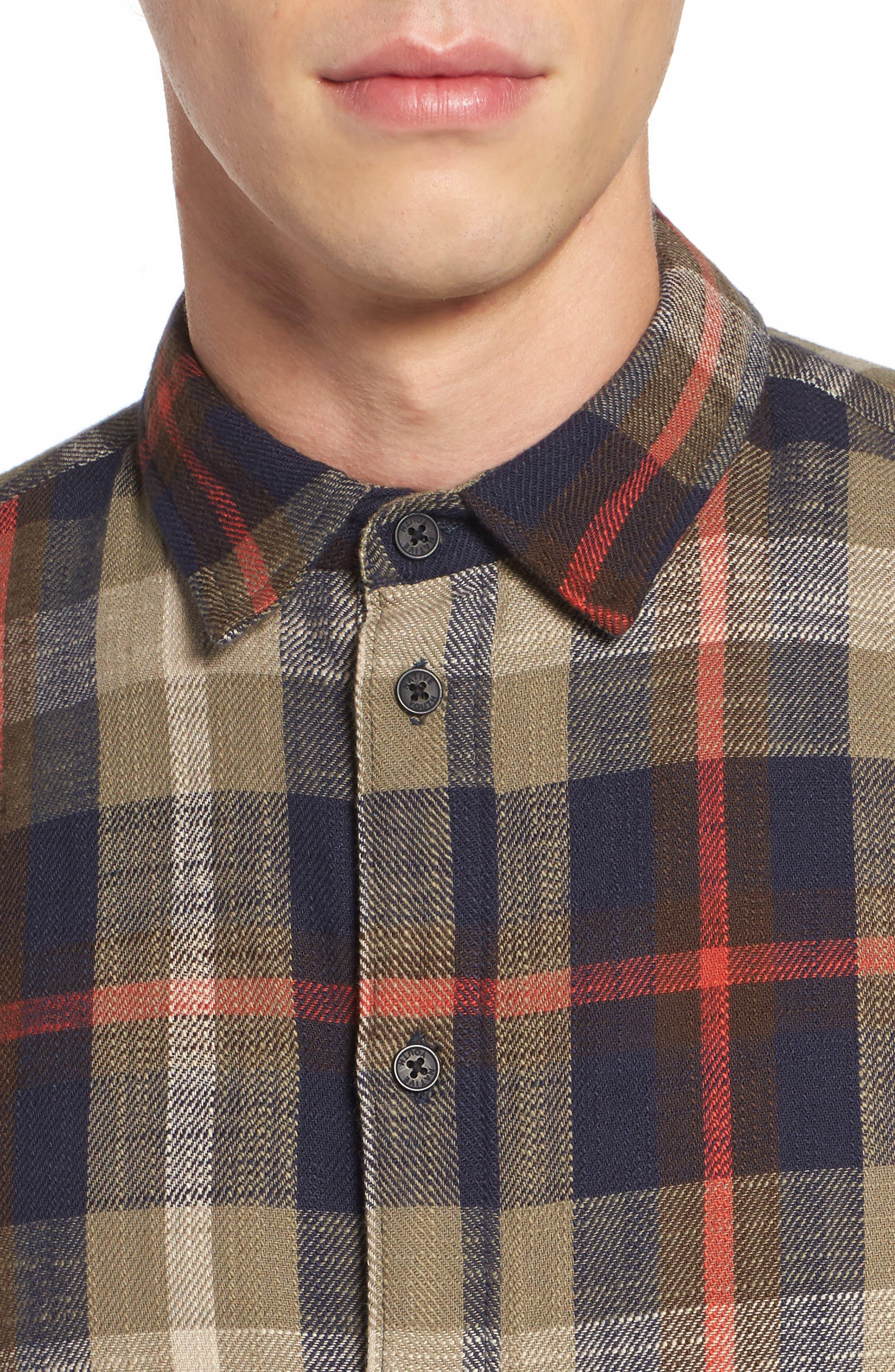 Brae Plaid Flannel Shirt,                             Alternate thumbnail 4, color,                             Green Check