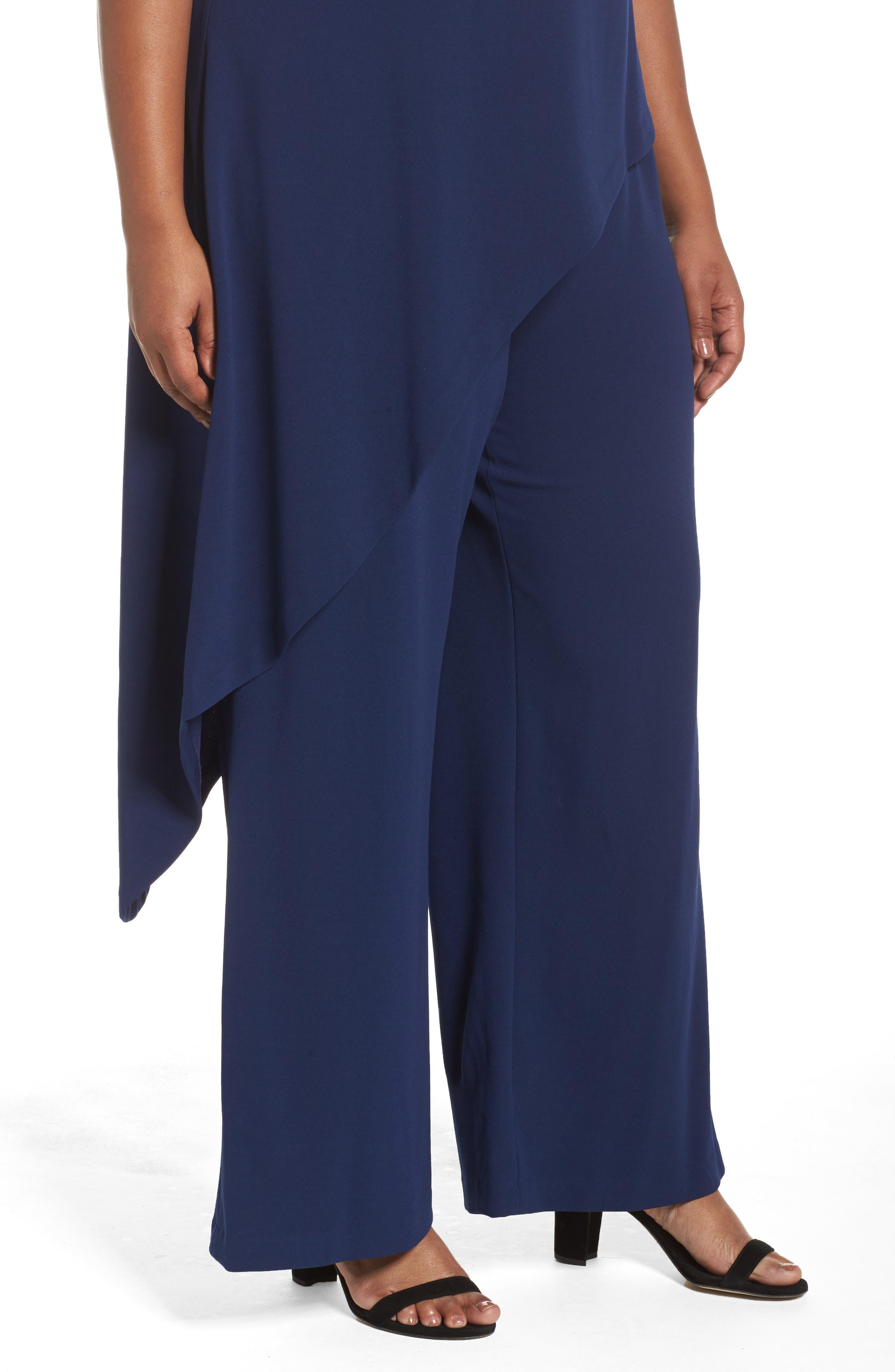 Knit Crepe Asymmetrical Jumpsuit,                             Alternate thumbnail 4, color,                             Blue Violet