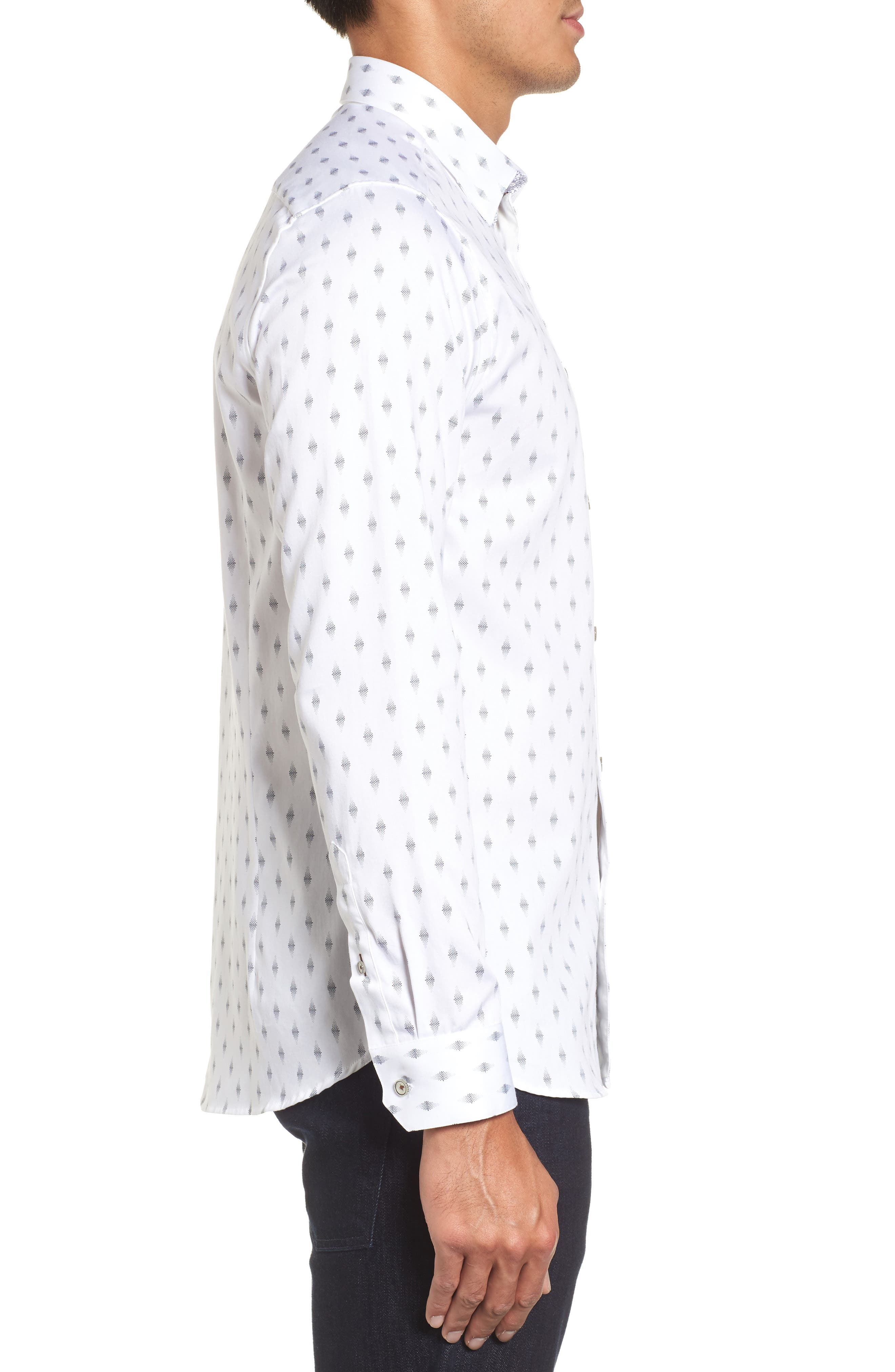 Monico Slim Fit Dot Diamond Sport Shirt,                             Alternate thumbnail 4, color,                             White