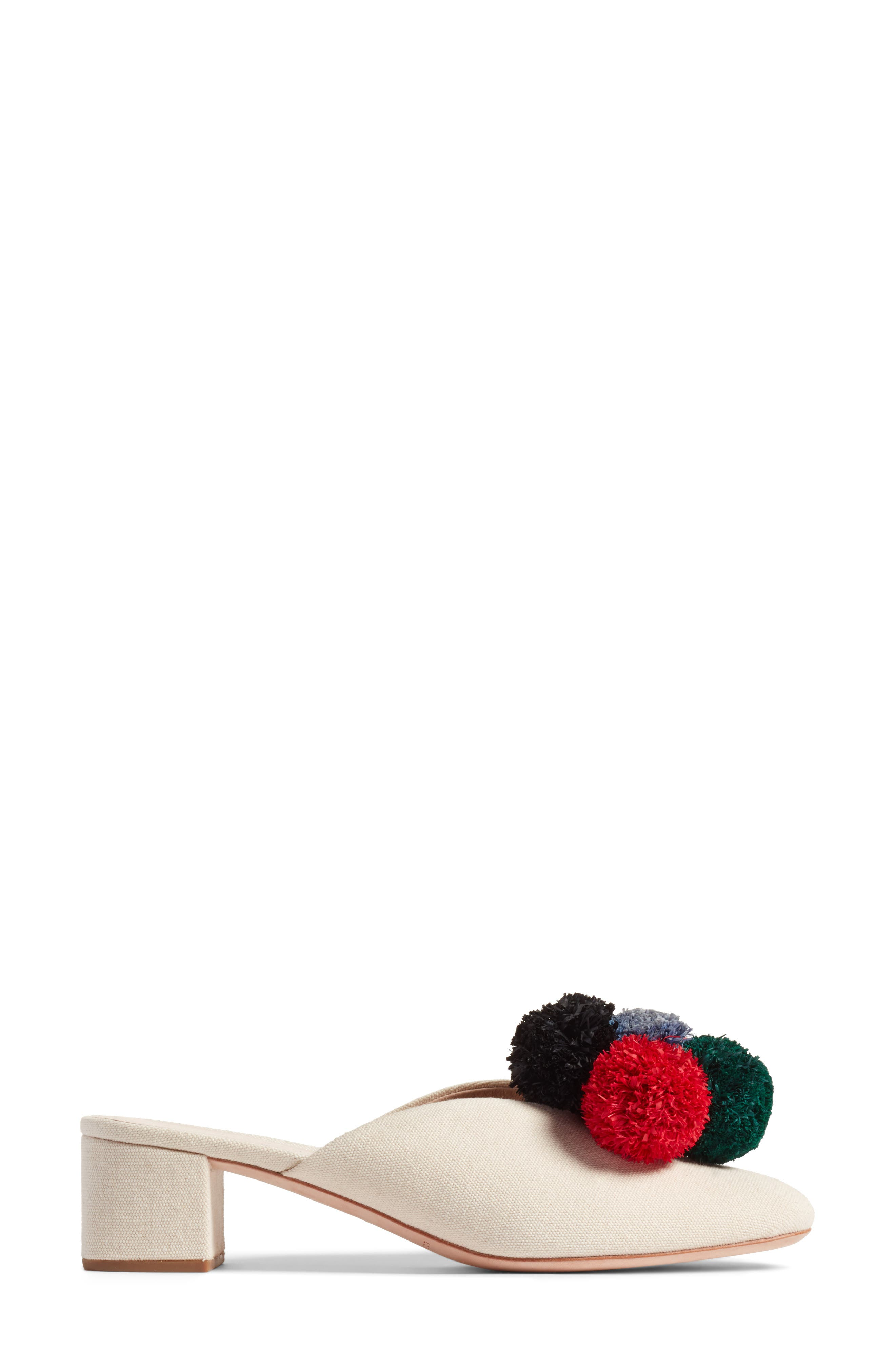 Lulu Pom Block Heel Mule,                             Alternate thumbnail 3, color,                             Natural/ Multi
