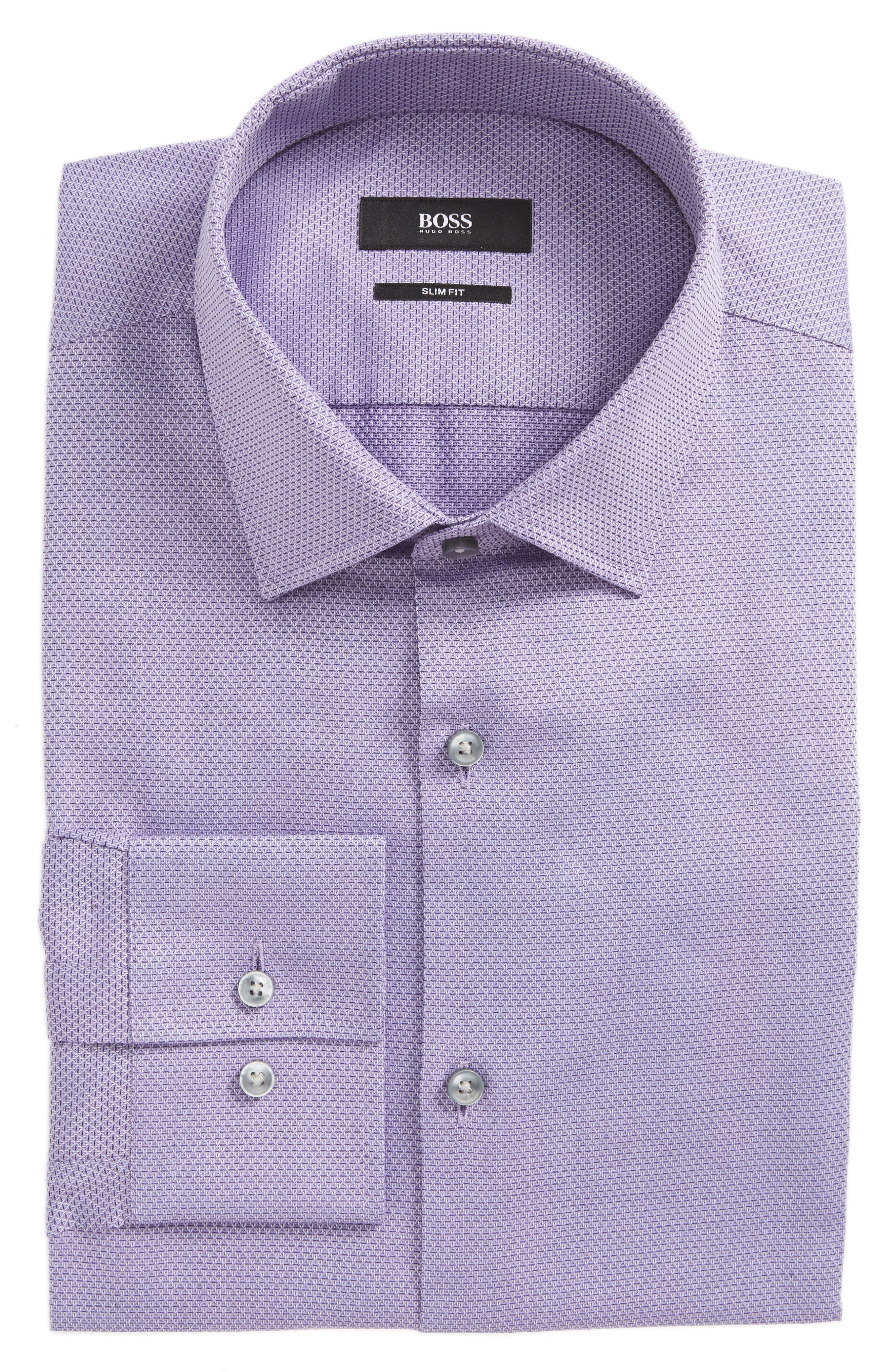 Jenno Slim Fit Textured Dress Shirt,                         Main,                         color, Medium Purple