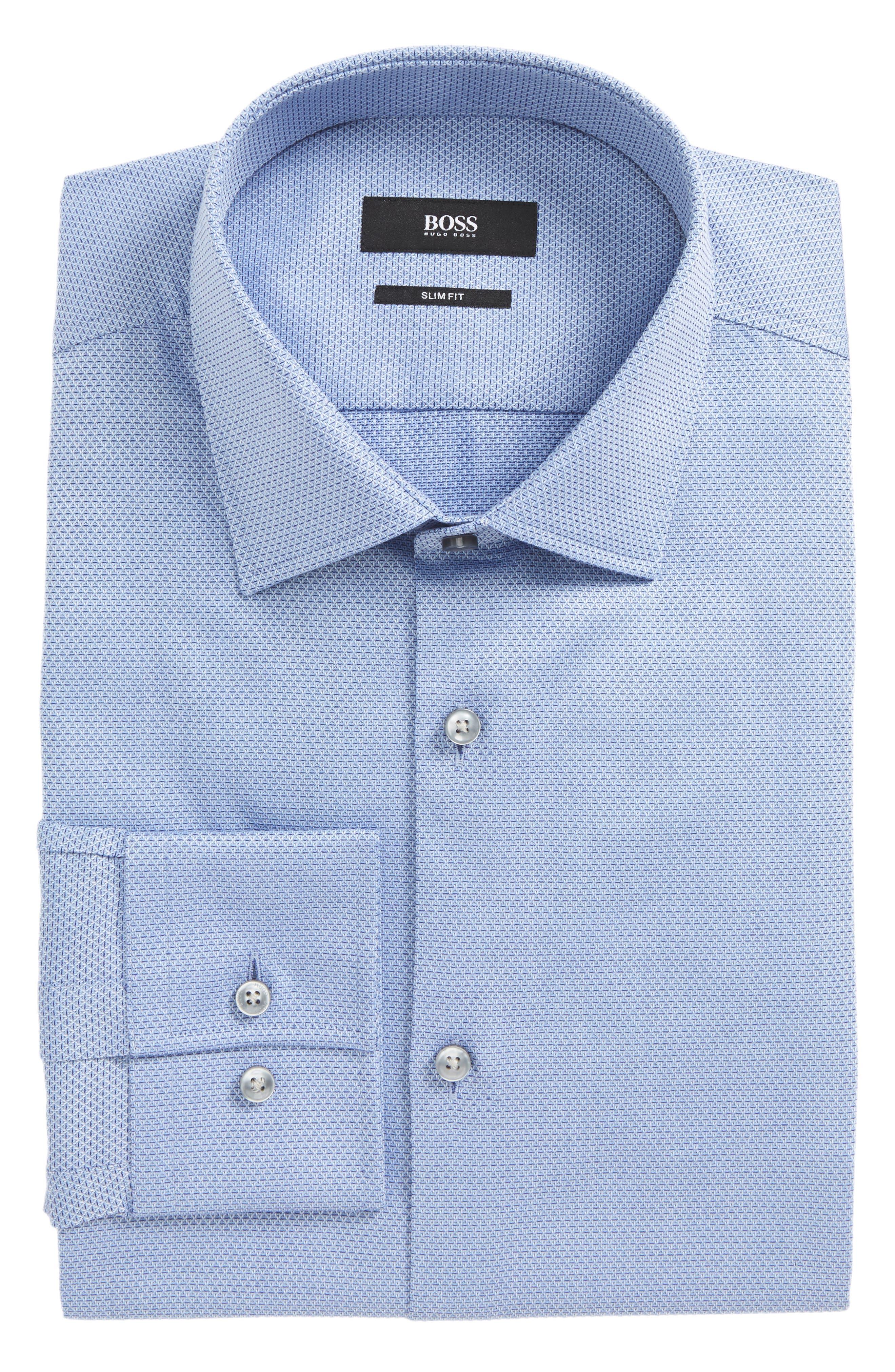 BOSS Jenno Slim Fit Textured Dress Shirt