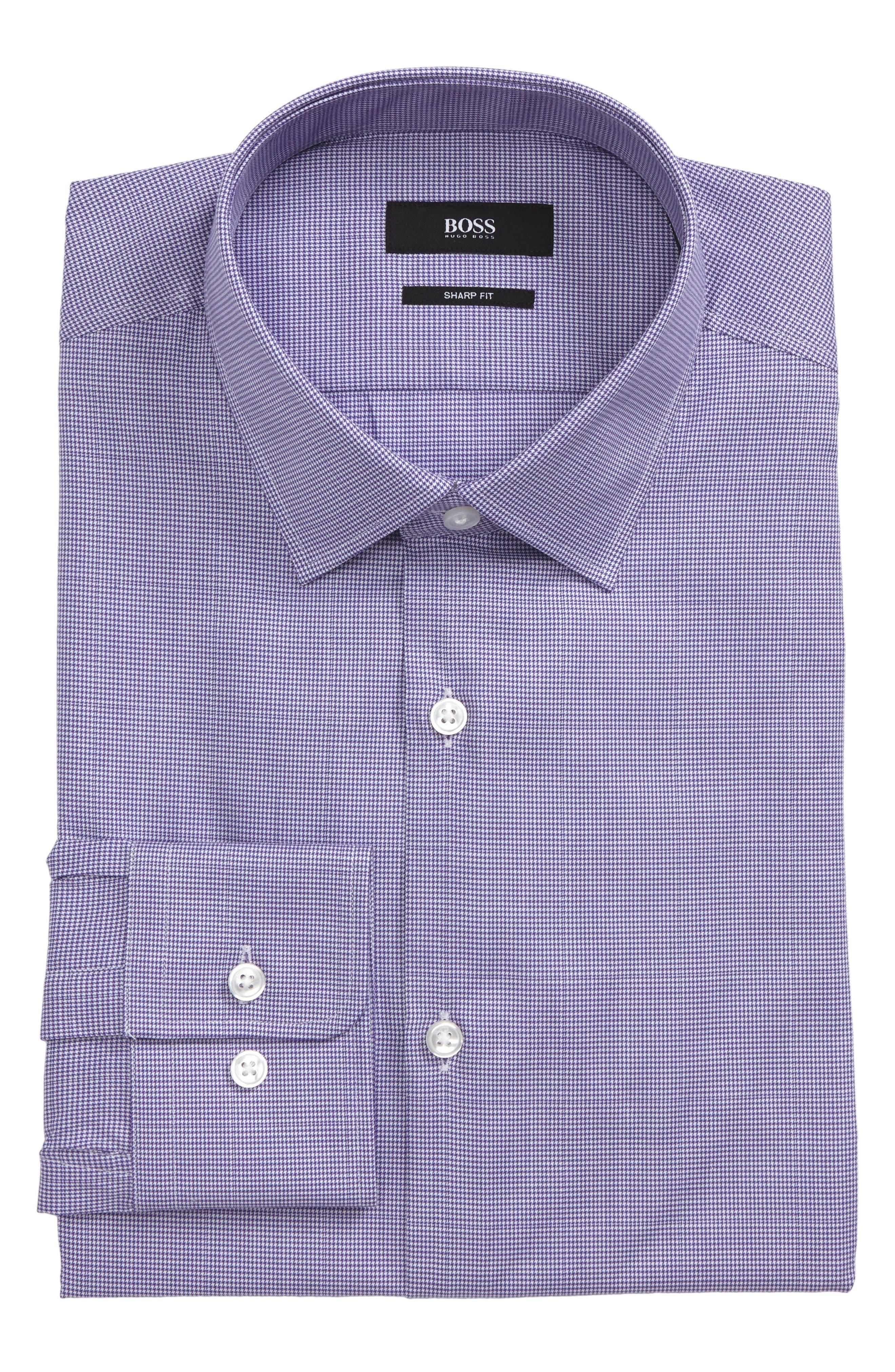 BOSS Marley Sharp Fit Microcheck Dress Shirt