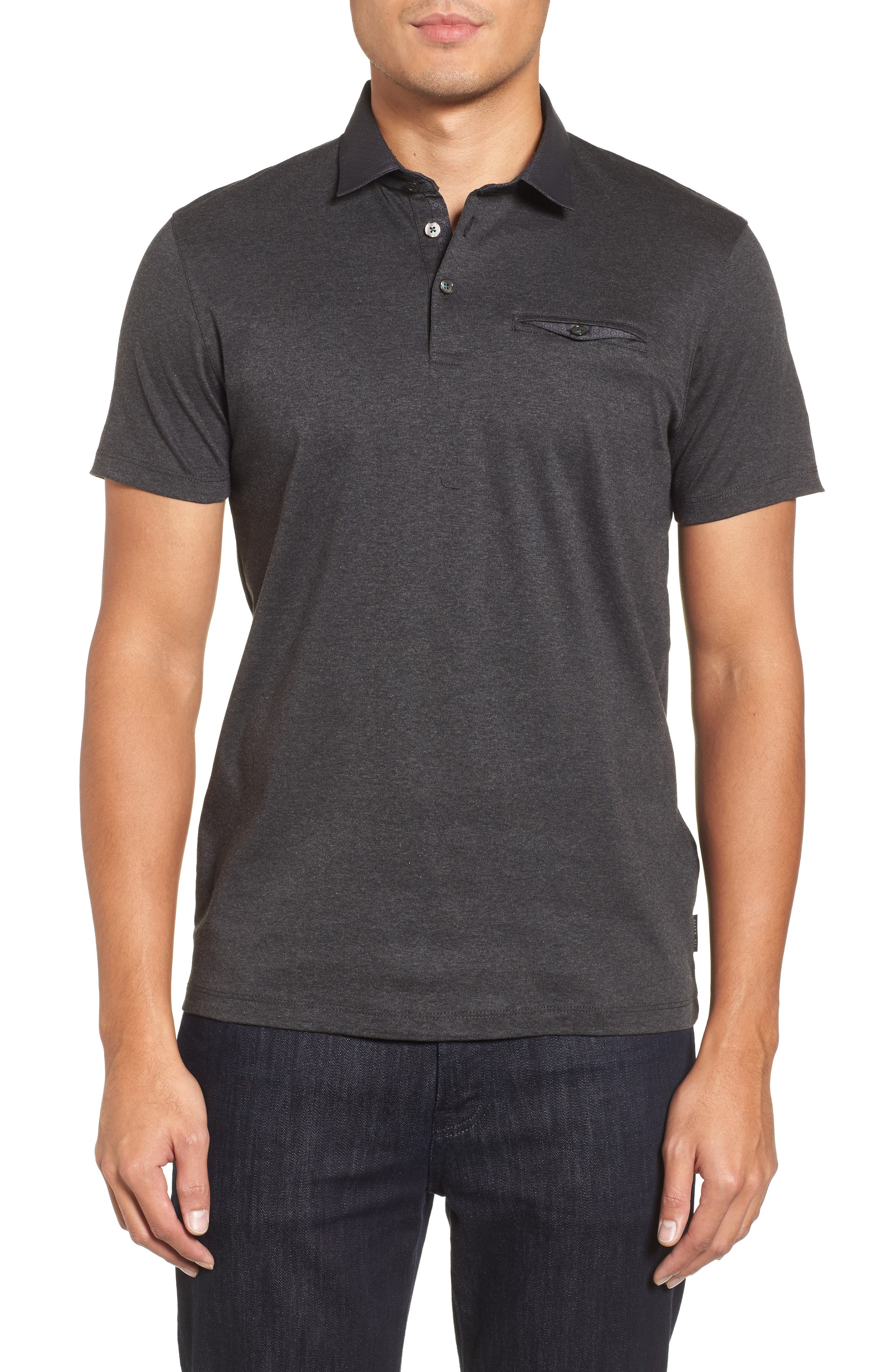 Ted Baker London Woven Trim Jersey Polo