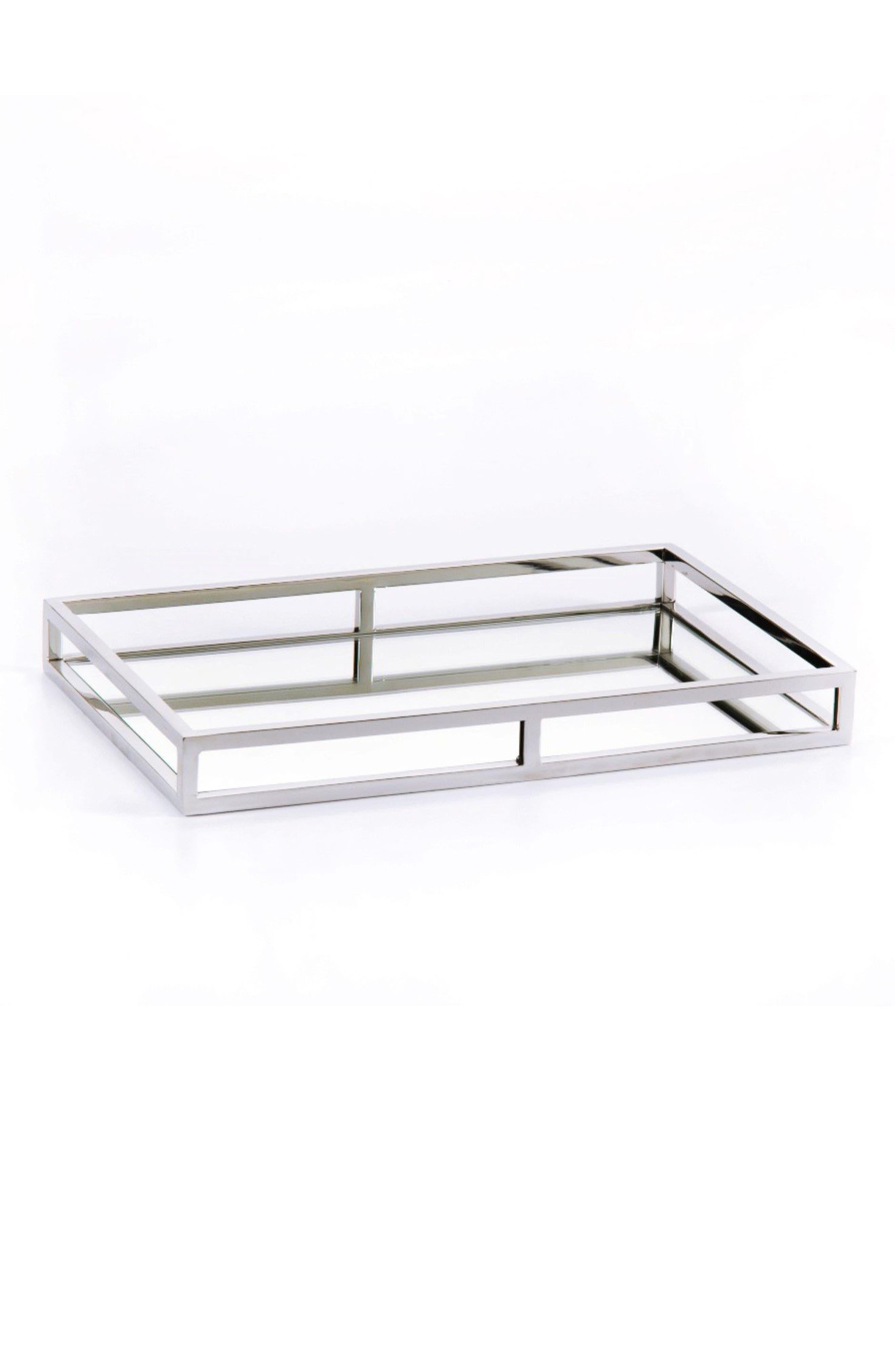 Venturi Rectangular Mirrored Tray,                         Main,                         color, Silver