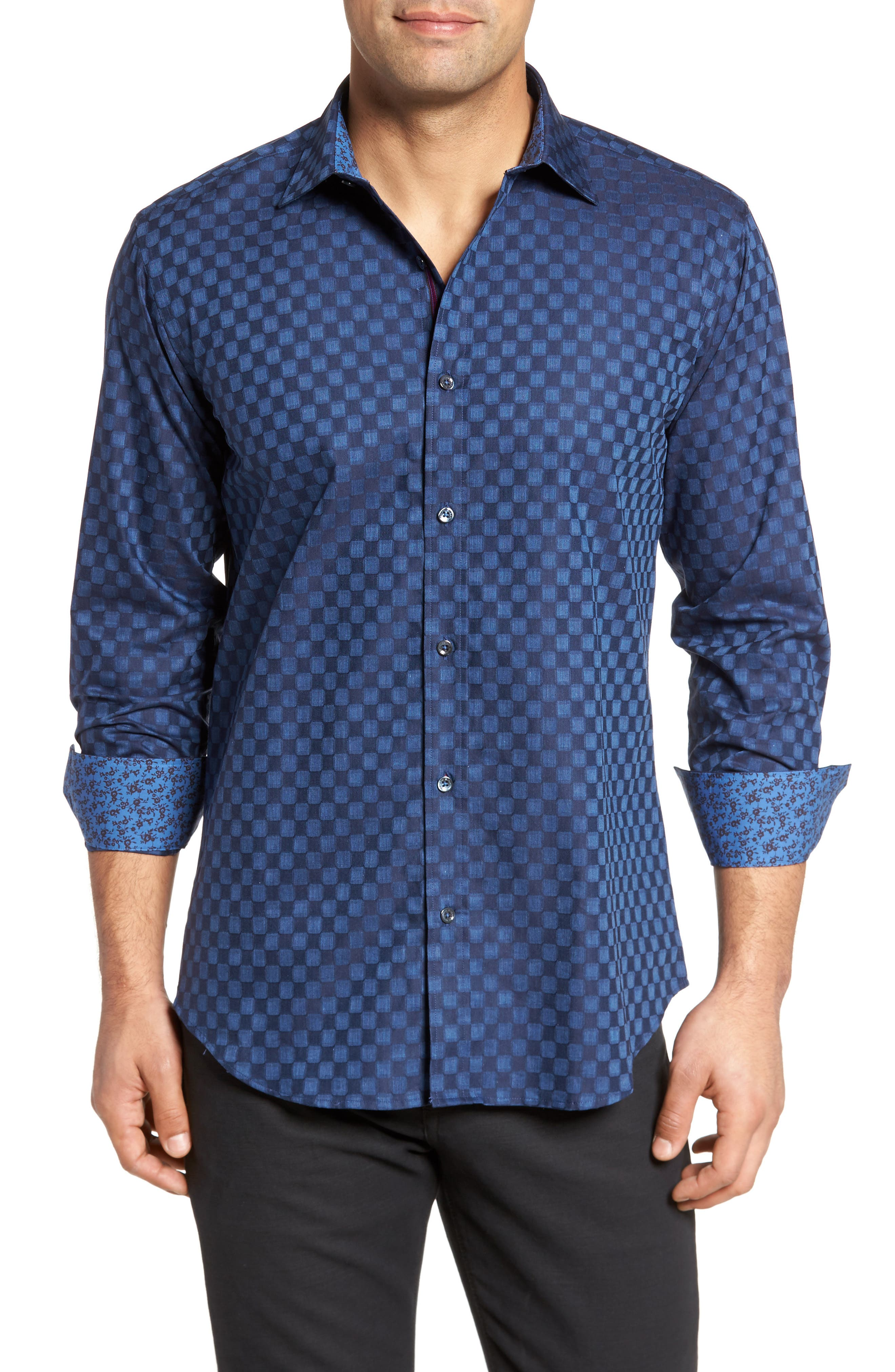 Slim Fit Square Jacquard Sport Shirt,                         Main,                         color, Night Blue