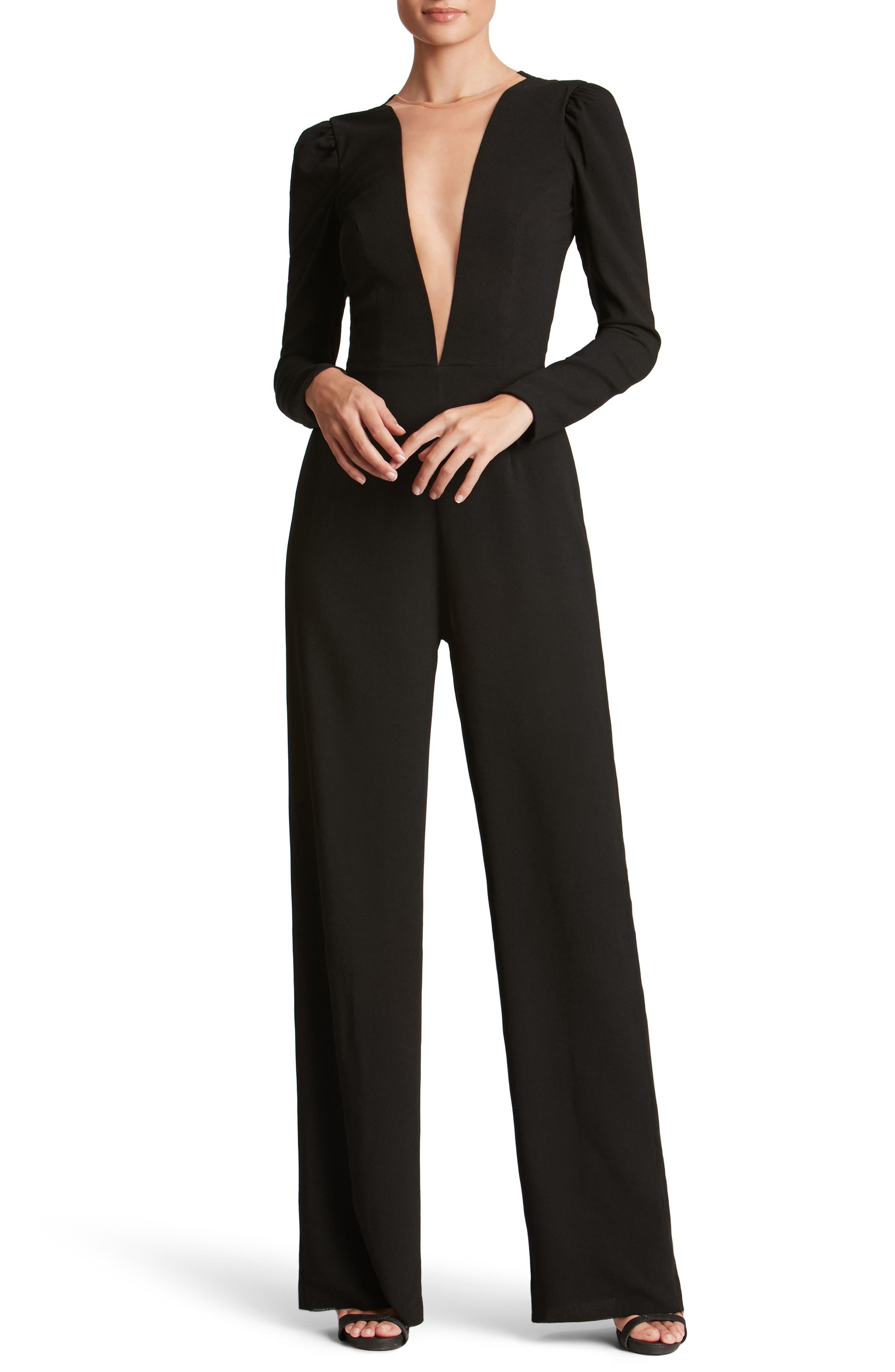 Main Image - Dress the Population Drew Plunging Illusion Jumpsuit
