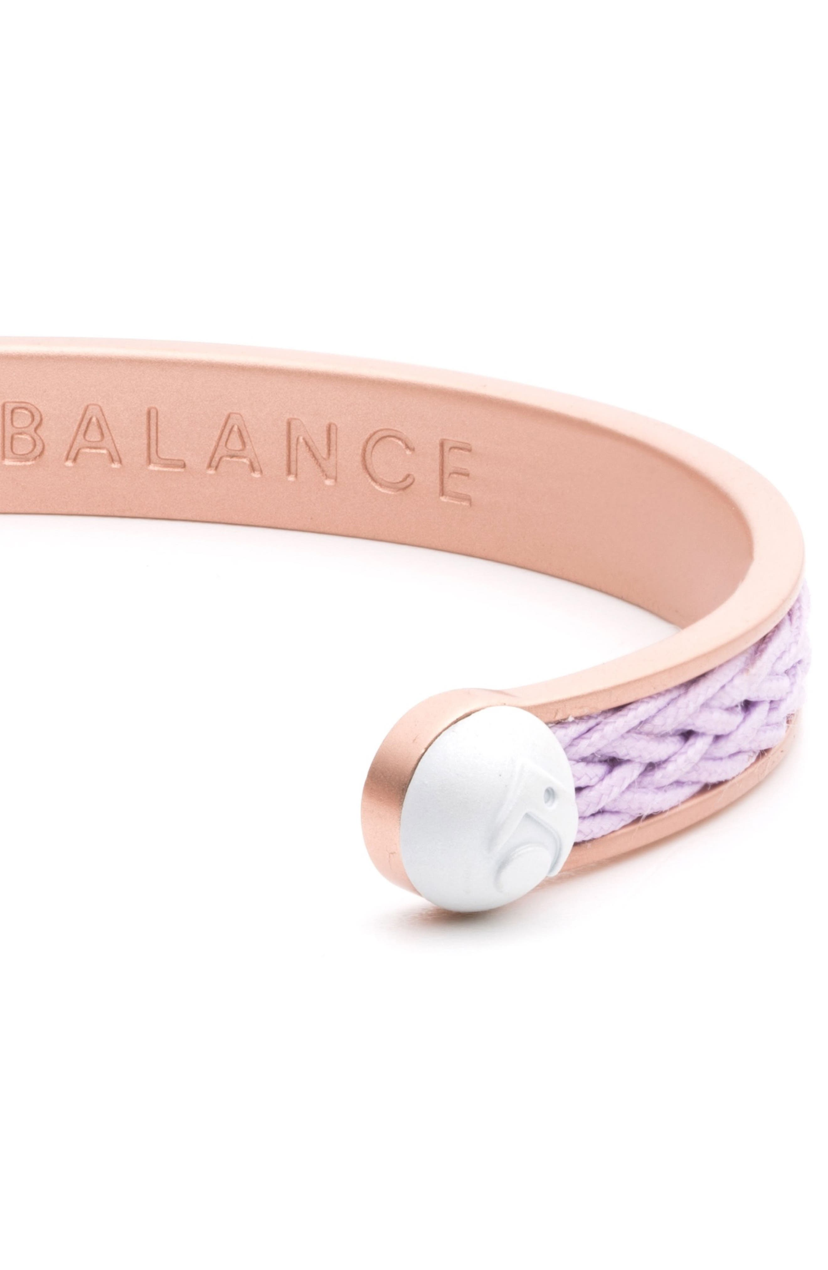 Braided Cuff Bracelet,                             Alternate thumbnail 3, color,                             Rose Gold/ Lilac