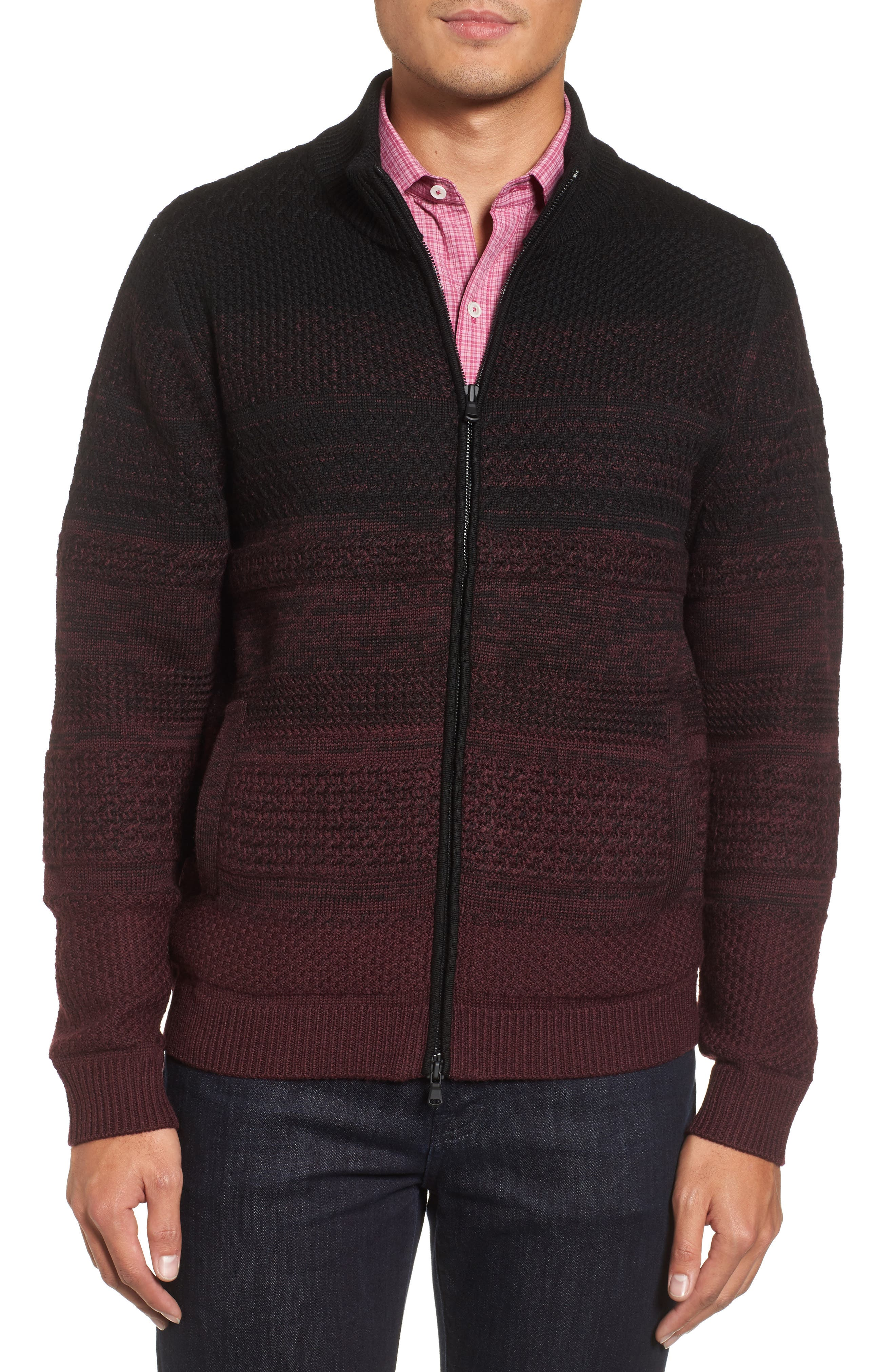 Hawkins Degrade Merino Full Zip Cardigan,                         Main,                         color, Burgundy