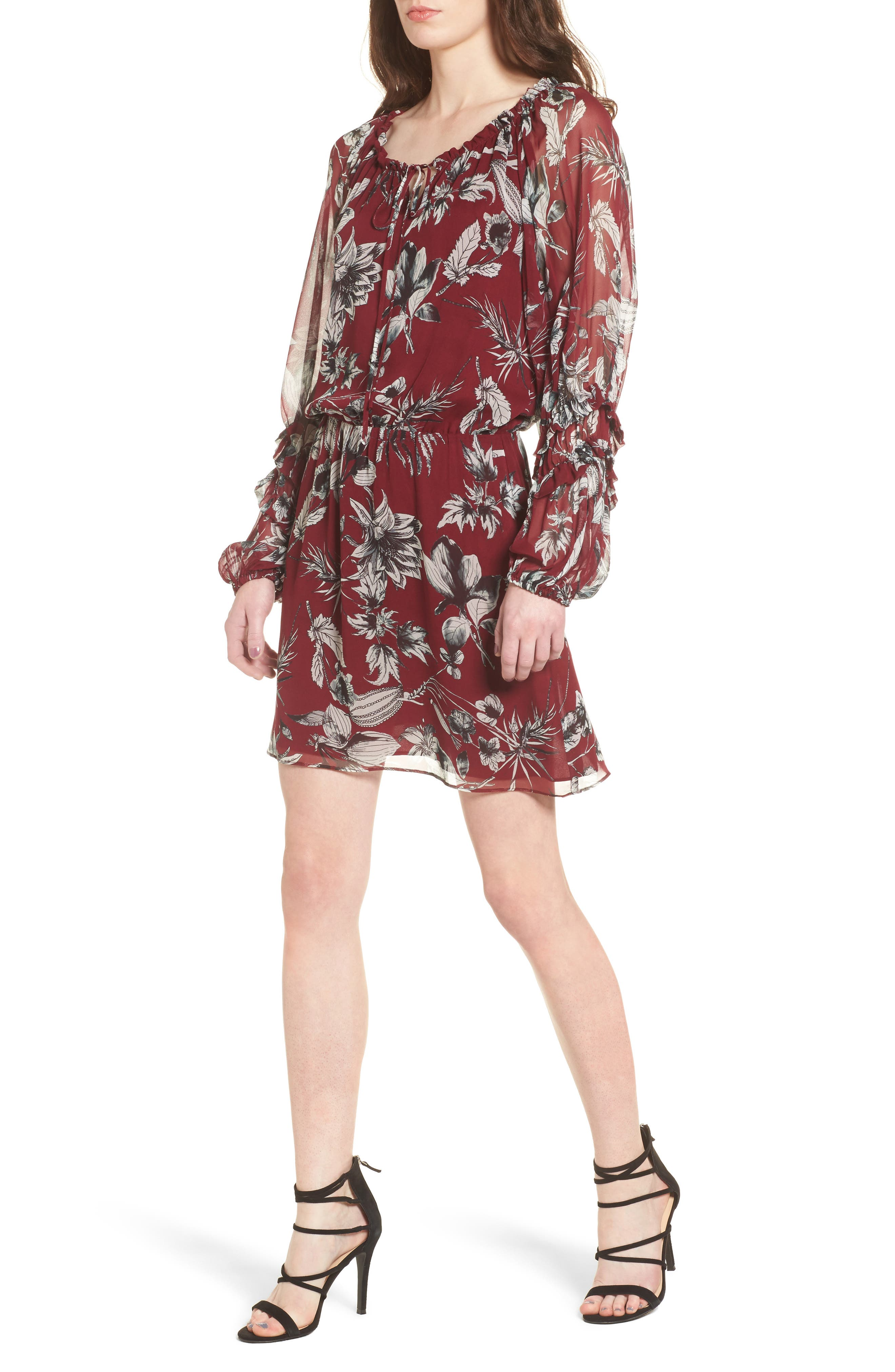 Nicole Silk Blouson Dress,                         Main,                         color, Red Rooted