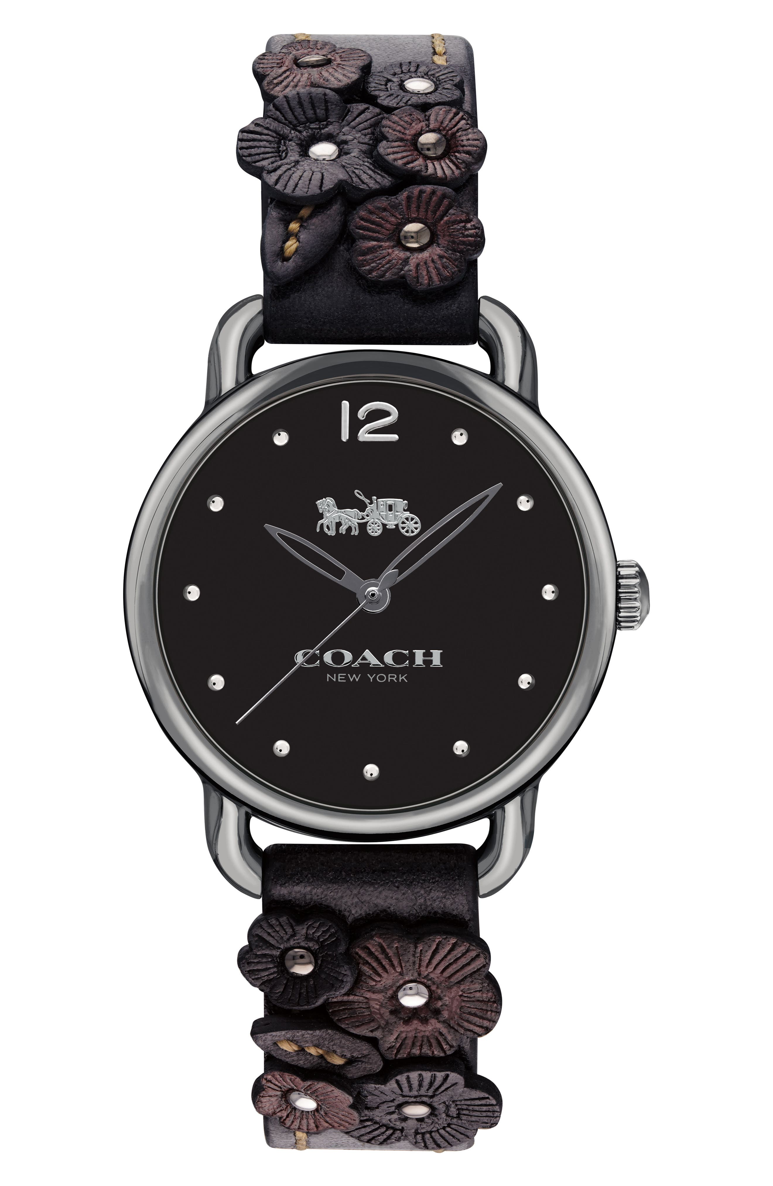 Delancey Floral Leather Strap Watch, 28mm,                         Main,                         color, Black/ Gunmetal